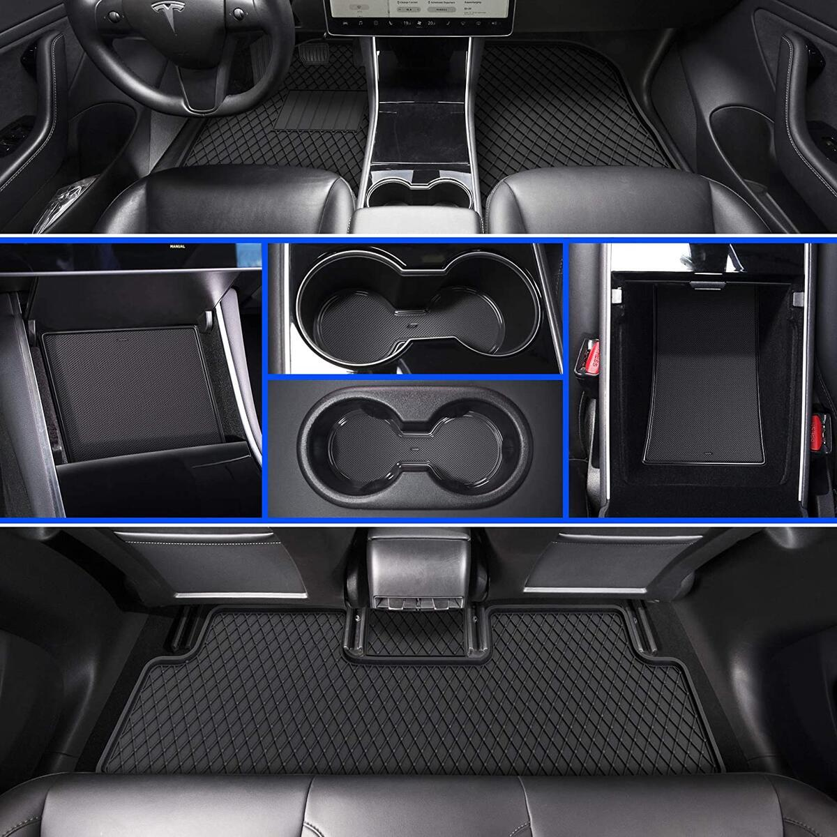 Automajor Tesla Floor Car Mat Set - Tesla Model  Y 3 All Weather Floor Mats - Best Tesla Model Y 3 Carpet Floor Mats - Model 3 All Weather Interior Floor Liners