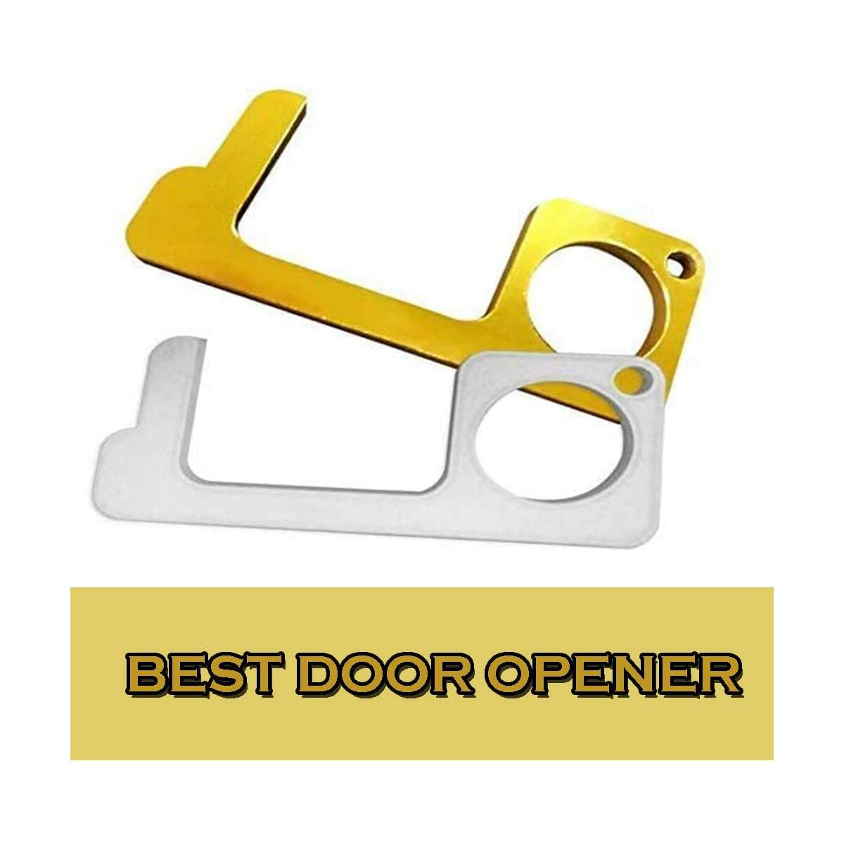 Brass Door Opener, Hygiene Hand Brass Door Opener, Non-Contact Key Chain, Outdoor Public Door Handle Opener, Brass Door Opener for Infected Surfaces, Closer Stylus Keep Hand Clean and Safe(Pack of 2)