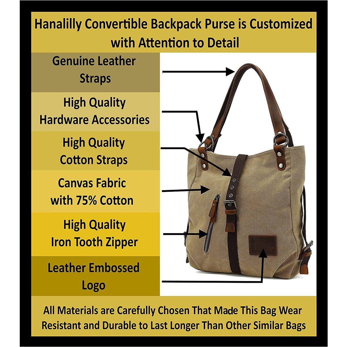 Hanalilly Convertible Backpack Purse / Genuine Leather & Canvas