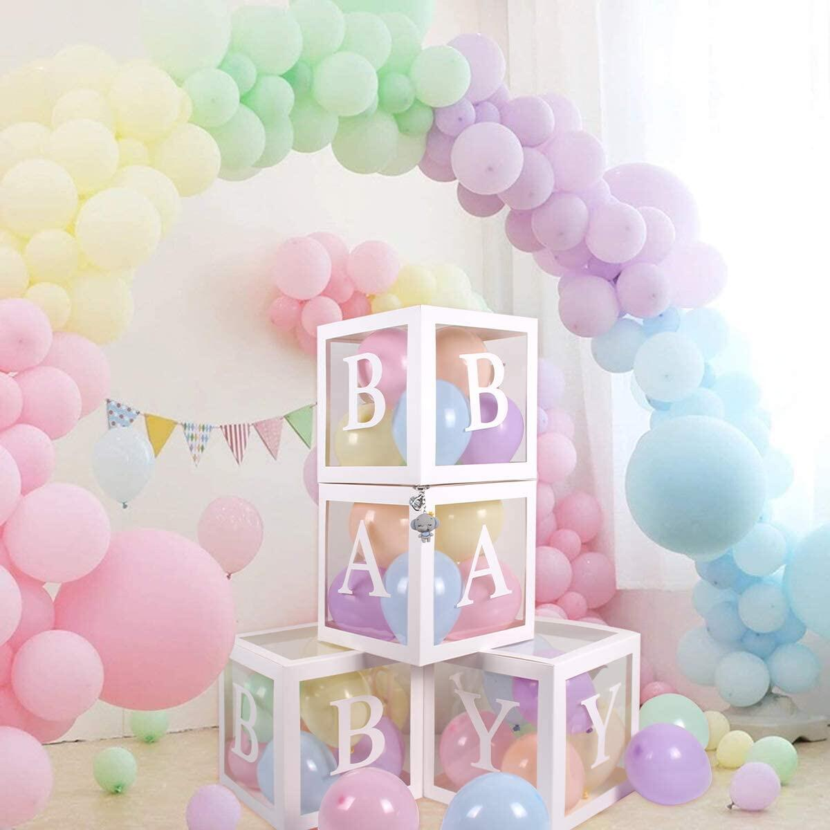 BearBox Baby Shower Balloon Box Kit 45 Piece Box Kit with Free Elephant Charm | Gender Reveal Party Decoration Photo Shoot Prop