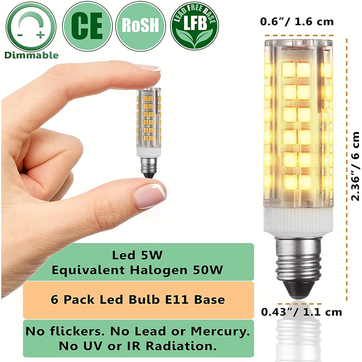 E11 LED Bulbs – 5W - 50W Halogen Replacement - Dimmable - Mini-Candelabra Base Light Bulb - Replaces T4 /T3 JDE11 – Ware White 3000K - for Ceiling Fans, Cabinet Lighting, Sconce & More - 4 Pack.