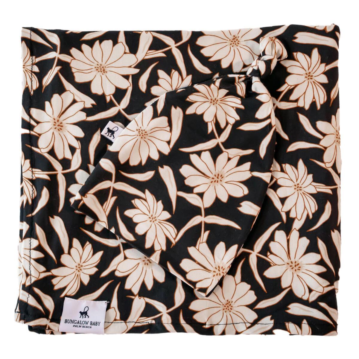 Bungalow Baby Swaddle Set - Premium Bamboo Viscose Baby Swaddle Blanket & Hat Set, Baby Boy, Baby Girl, Unisex, Newborn Swaddle, Baby Wrap, Bamboo Blanket, (Wild Flower)