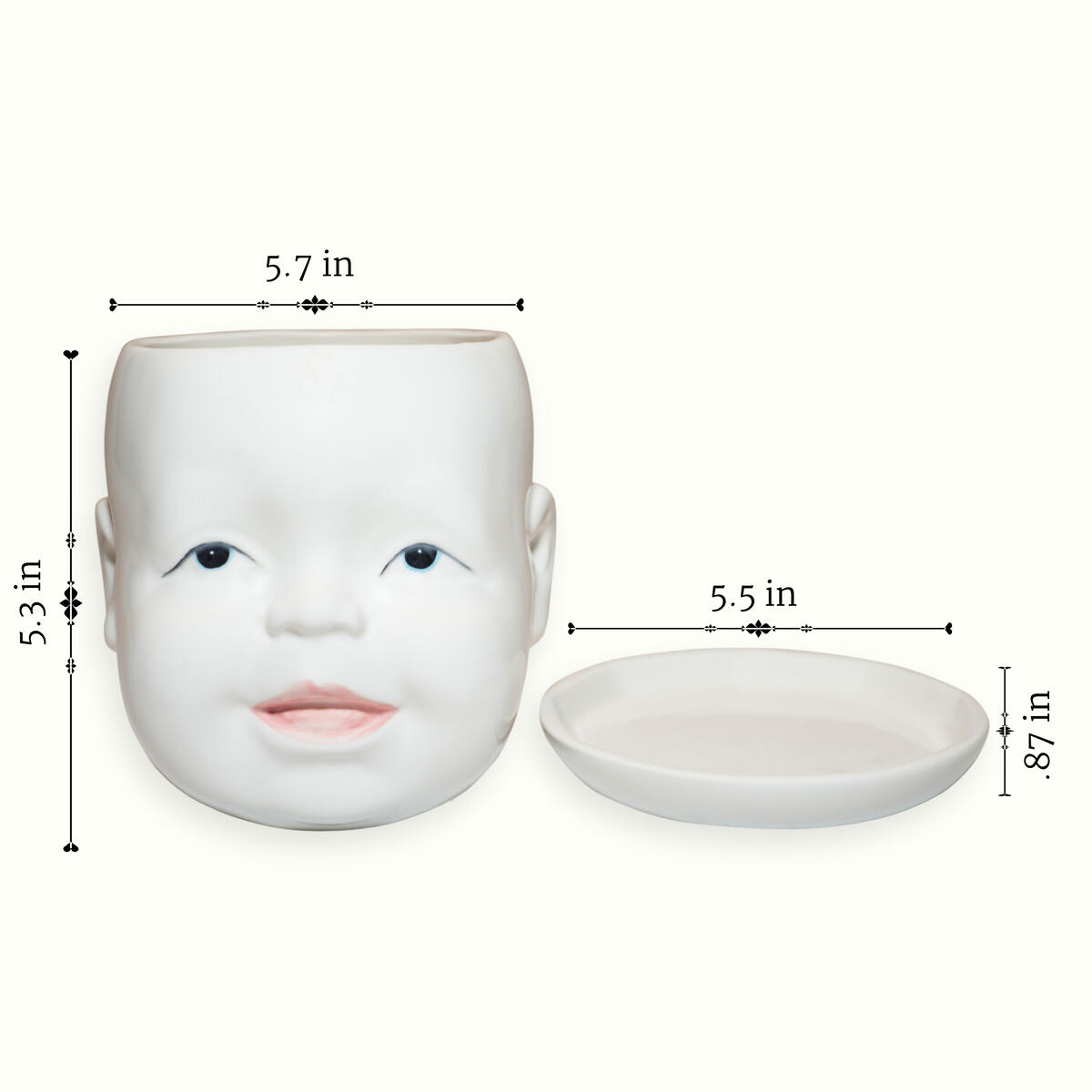 Ceramic Baby Head Planter with Stand - 5.7