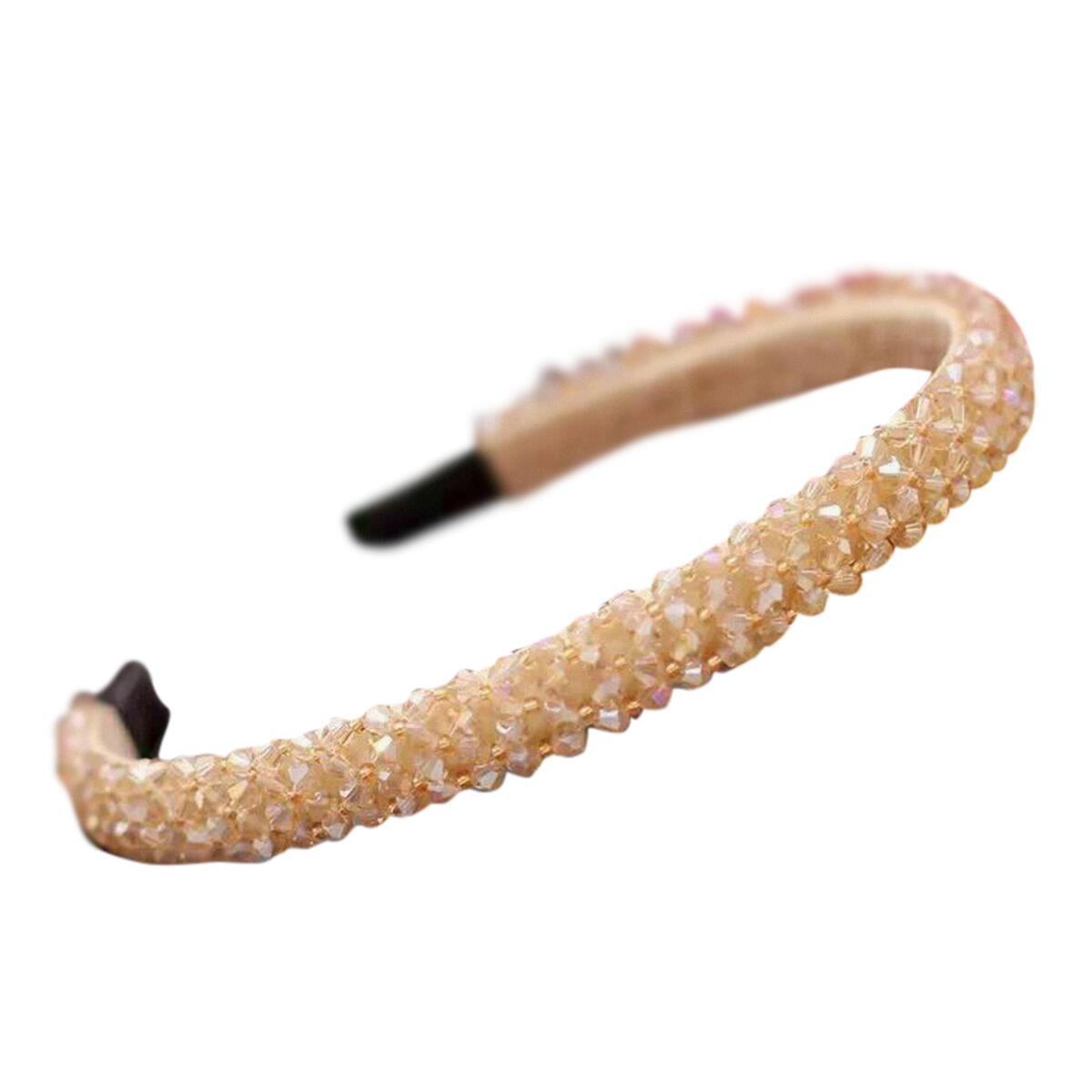 Handmade Crystal Rhinestone Headband for Women – 4 Row Beaded Shiny Ladies Accessories Hair Bling – Fashionable Crystal Headband with matching Crystal Hairband and Drawstring bag