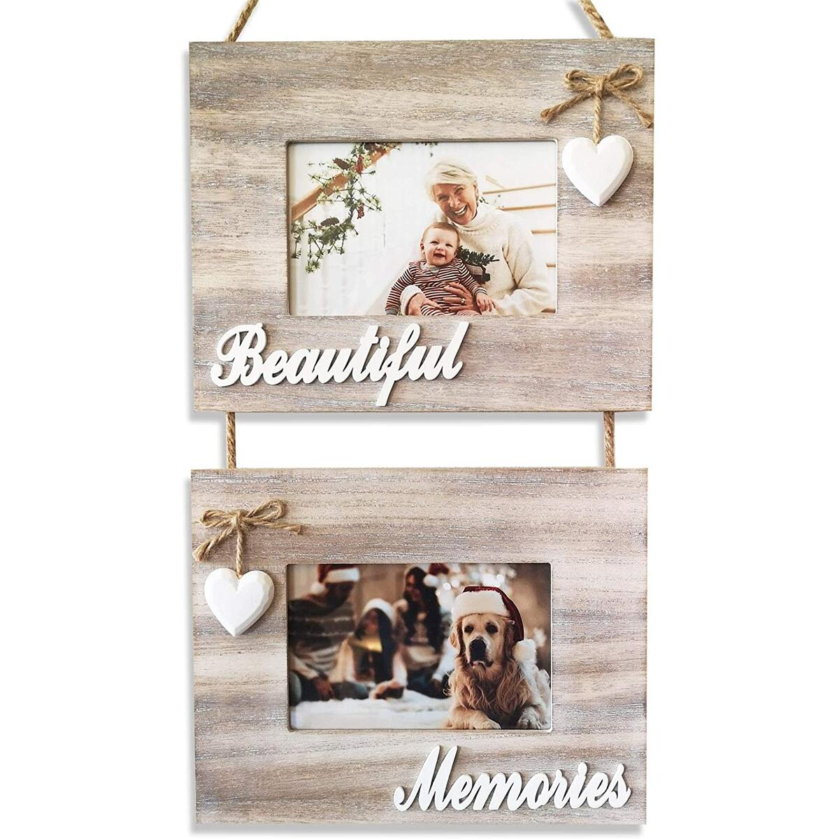 Beautiful Memories Rustic Double Hanging Picture Frame, 4x6 Decorative Photo Frame Collage, Shabby Chic Decor, White Wash Farmhouse Style Wood.
