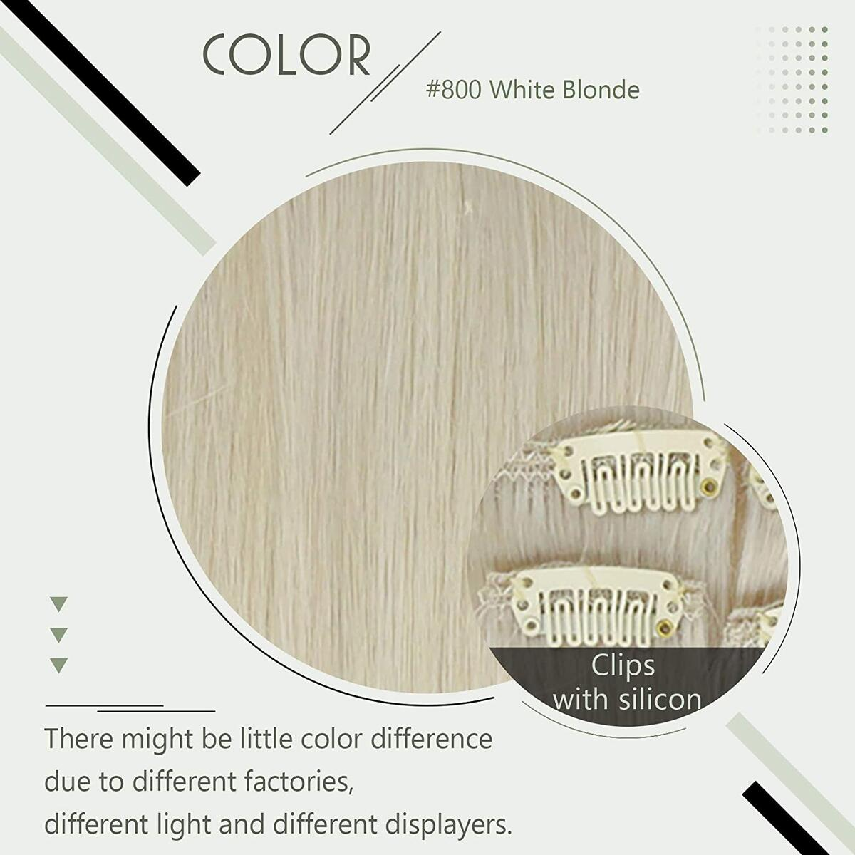 RUNATURE Clip in Hair Extensions Color 800 White Blonde 12 Inch Human Hair 9 Pieces 100g