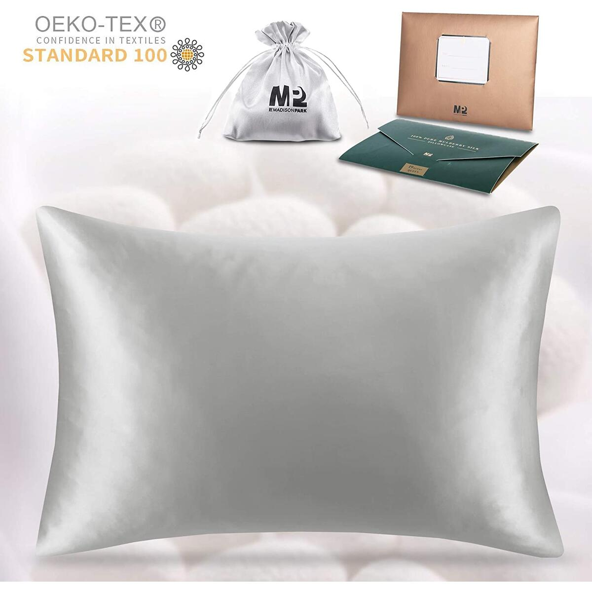 Pure Silk Pillowcase for Your Hair |  Both Sides 100% Mulberry Worm 19 Momme 600 Thread Count Pillow Cover w/ Hidden Zipper - 1 Pack, Queen Size, Grey