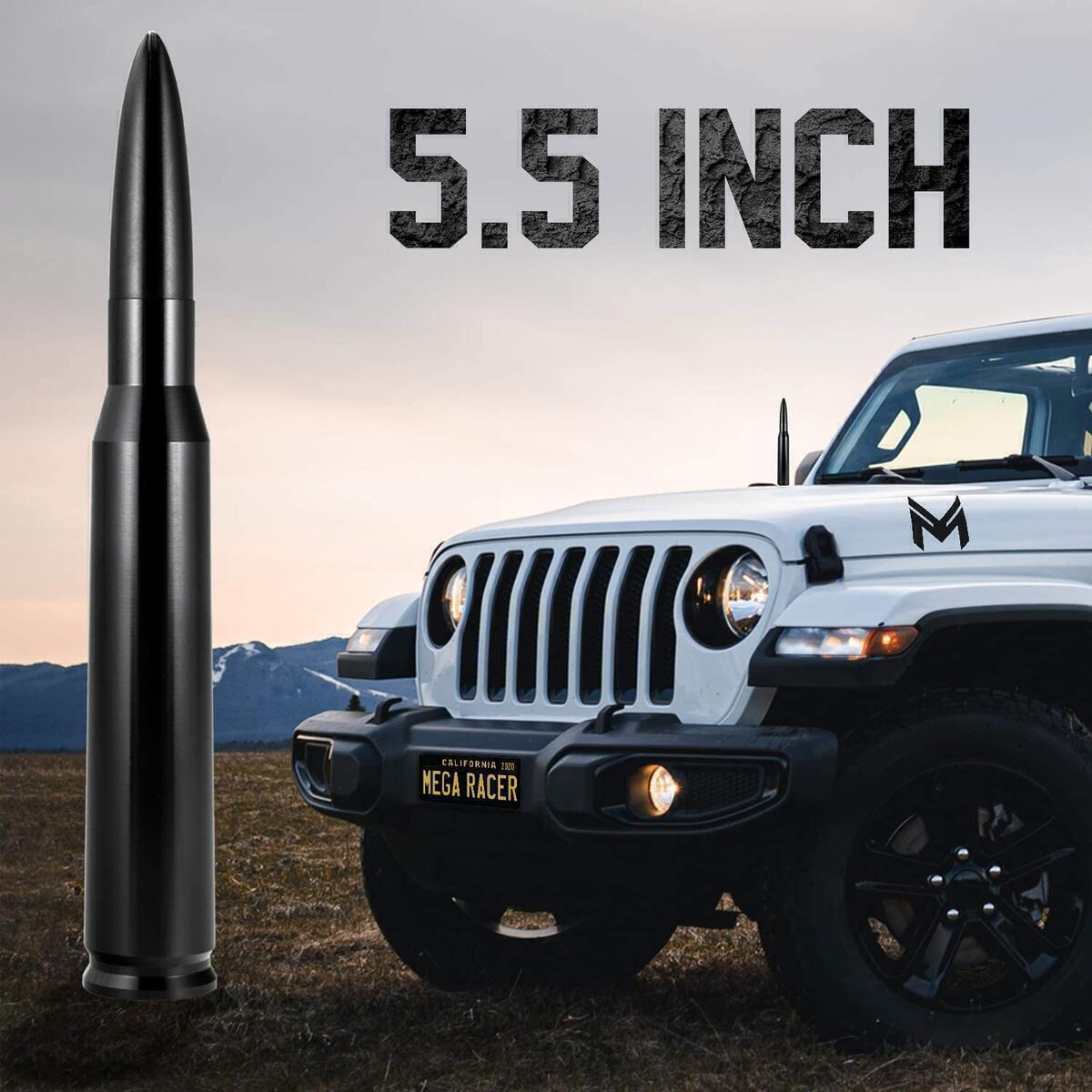 Mega Racer 50 Cal Bullet Antenna - 5.5 Inch AM/FM Compatible, Universal Fit for SUV, Solid Aluminum with Anti-Theft Design and Car Wash Safe - Black