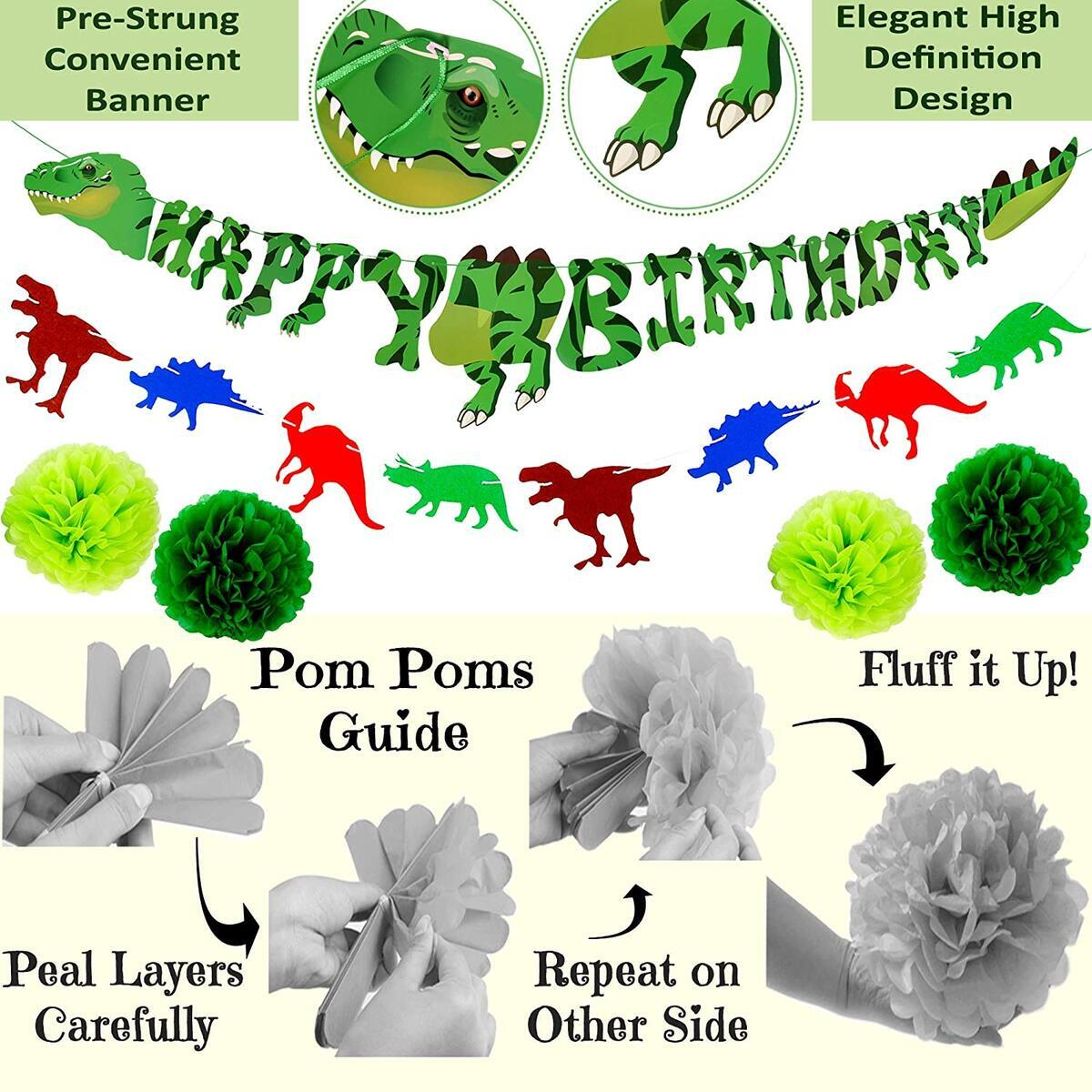 125 Pcs Dinosaur Birthday Party Supplies | Premium Mega Decorations Set Boys Girls | Balloon Arch Garland Kit, Happy Banner, TRex Palm Tree Inflatable Balloons | Dino Jungle Animal Jurassic Theme