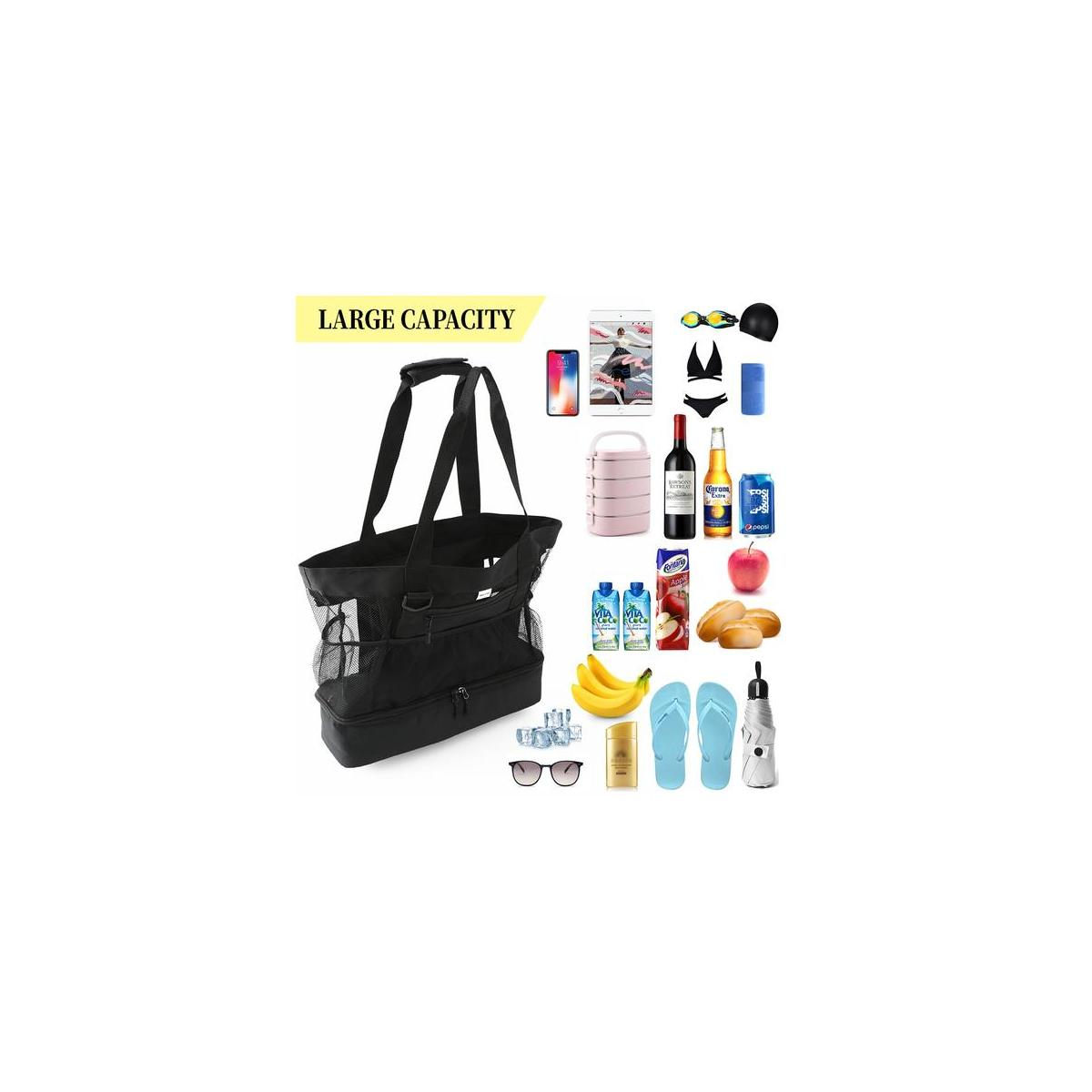 Beach tote Bag with Insulated Leak-proof Cooler,Mesh beach bag-( Black color)