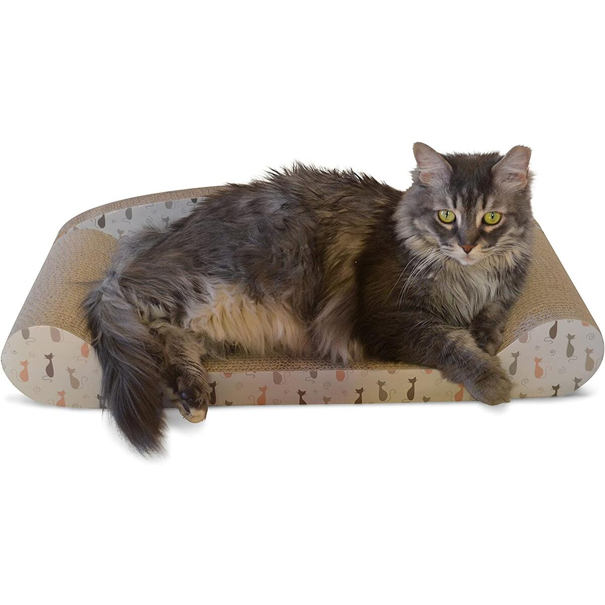 Feline Be Mine Cardboard Cat Scratcher Couch - Kitty Couch Scratching Pad Sofa Bed Protect Furniture Getting Damaged - Kitten Lounger