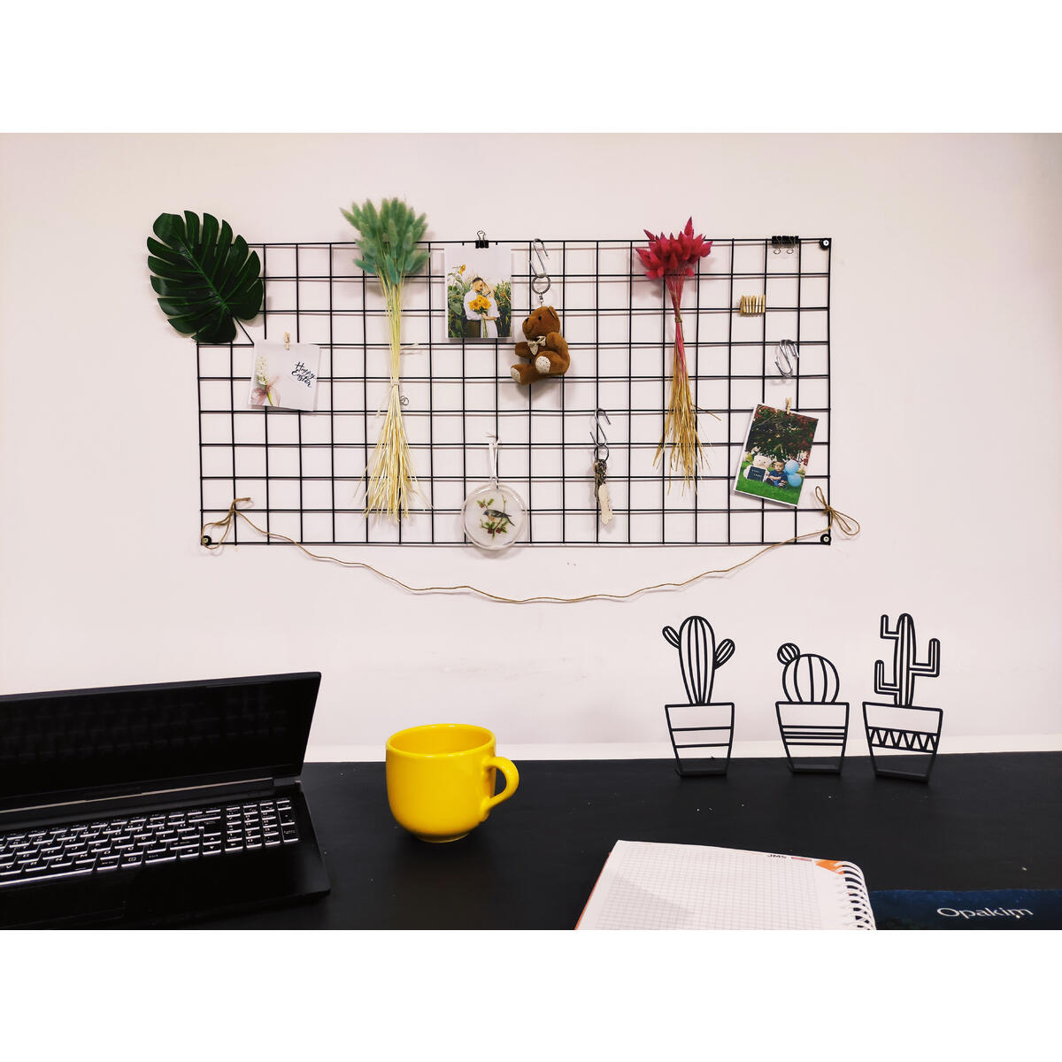 PLTz Art Wire Wall Grid Organizer for Photo Hanging Display and Wall Storage Organizer, Metal Grid Photo Wall Panel, Wire Mesh Memo Board, Picture Holder, Aesthetic Desk Decor, (37.4x17.7 inch-Black)