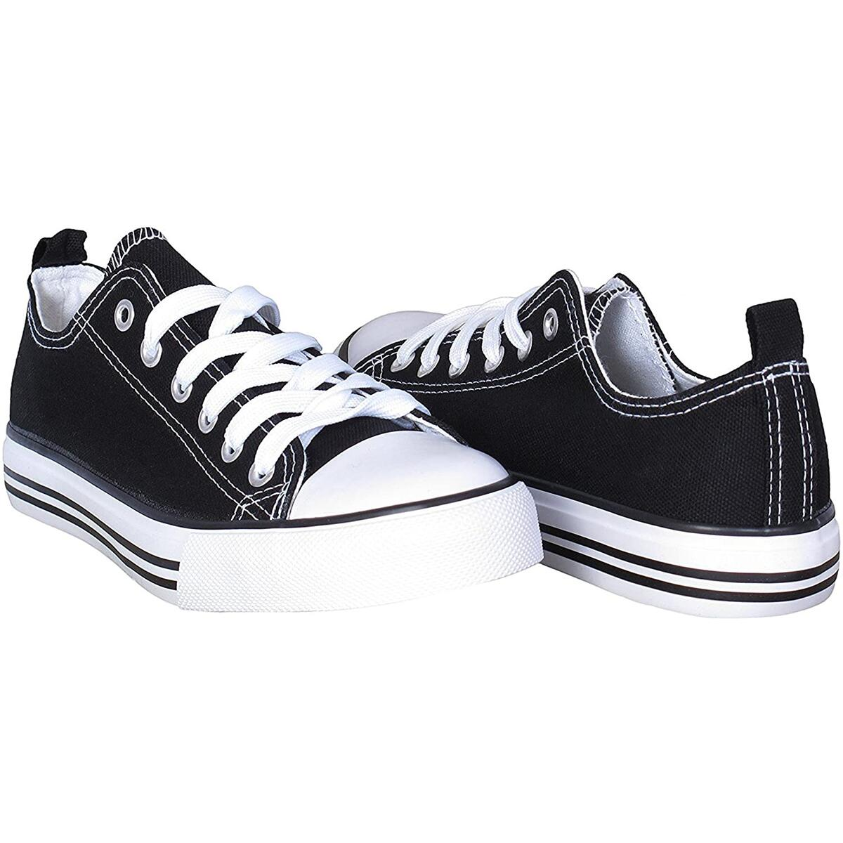 Rebate Only For Color: Black and White Size: 8 -  Women's Canvas Sneakers Casual Shoes Solid Colors Low Top Low Cut Lace up