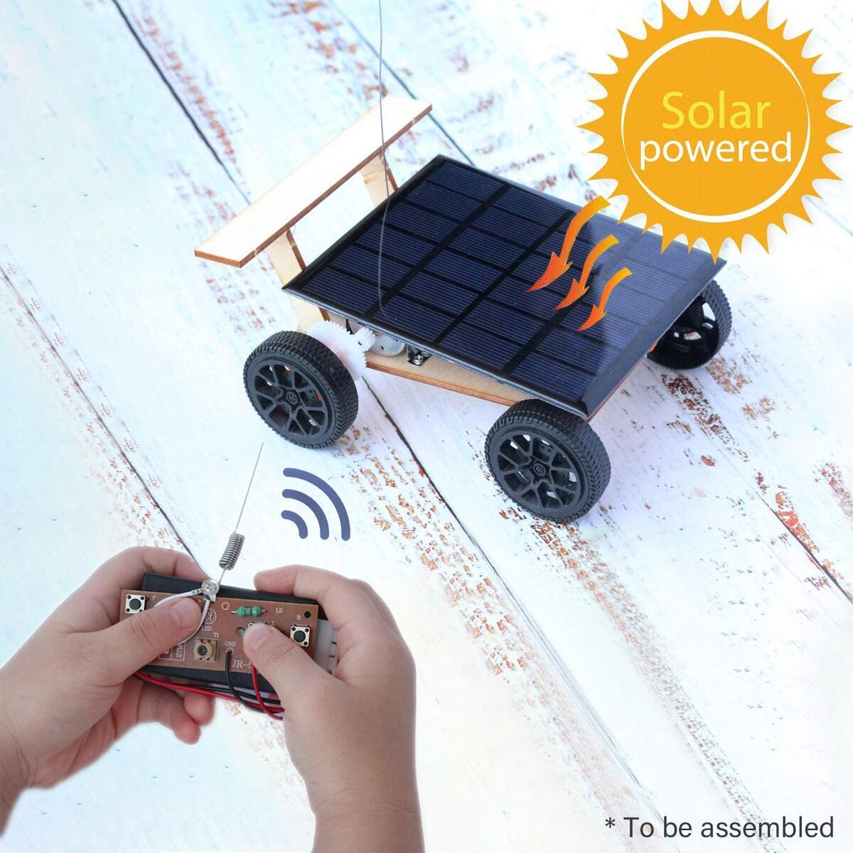 Pica Toys New Wooden Solar & Wireless Remote Control Car V2 Robotics Creative Engineering Circuit Science Stem Building Kit - Electric Motor DIY Experiment for Kids, Teens and Adults
