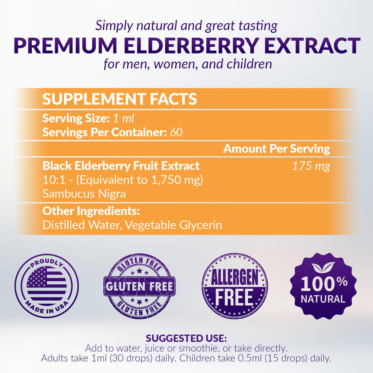 Onsen Immune Premium Sambucus Elderberry Syrup, Potent Daily Immune Support Pure Herbal Supplement with Antioxidants for Kids and Adults, Gluten Free, Vegan, Non-GMO, 60 Day Supply
