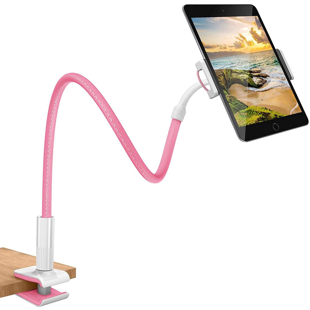 Deluxe Gooseneck Phone & Tablet Holder for Desk, Night Stand, Headboard - Pink