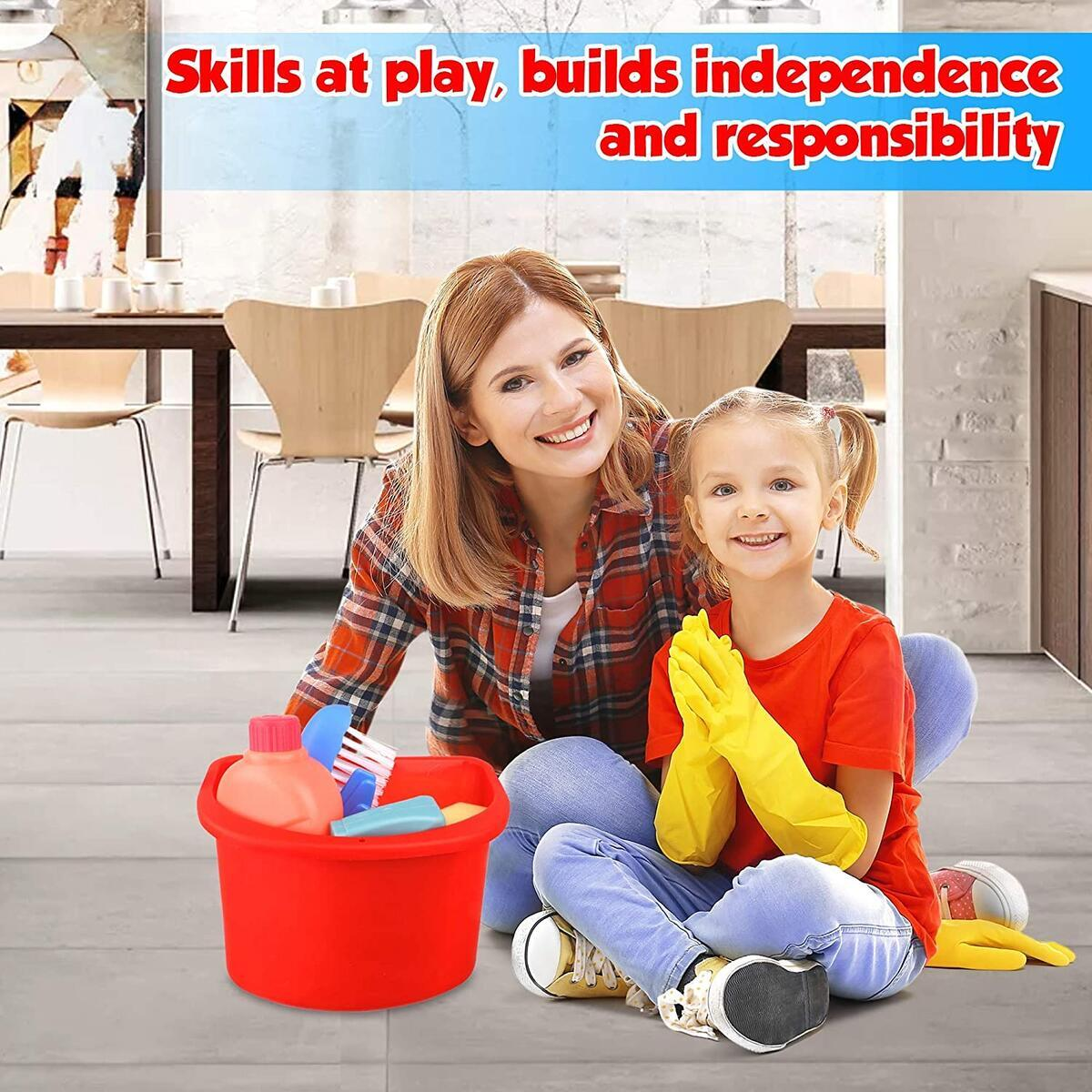 Playkidz Cleaning Pail Set, 6Pcs Includes Spray, Sponge, Squeegee, Brush, and Storage Bucket, Play Helper Realistic Housekeeping Set, Recommended for Ages 3+