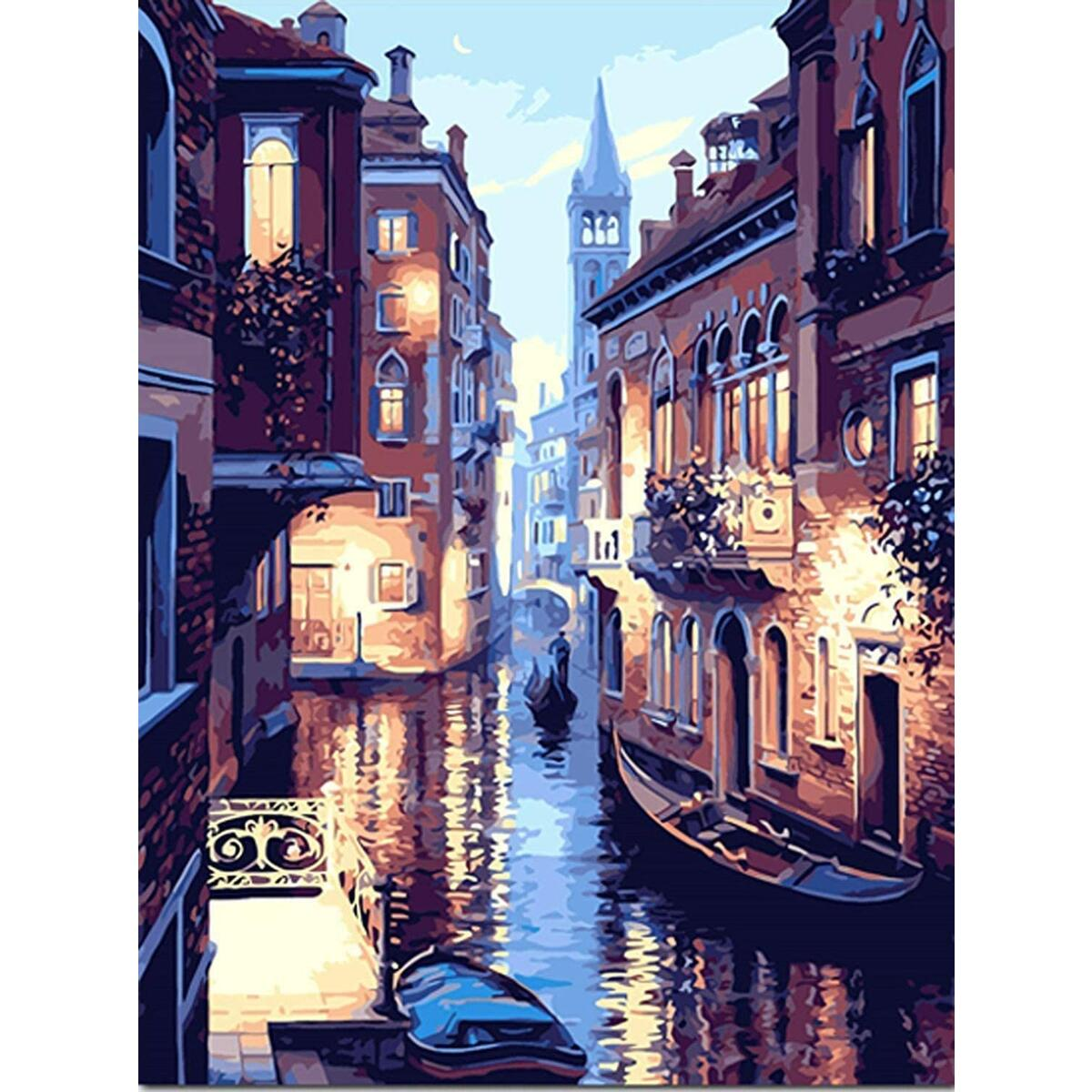 DIY Paint by Numbers for Adults and Kids Framed Kit (16 x 20 Inch) Beautiful Venice Italy Night Scene, Canvas Acrylic Painting Kit - Includes 3 Paint Brushes, Durable Frame, and 25 Acrylic Paints
