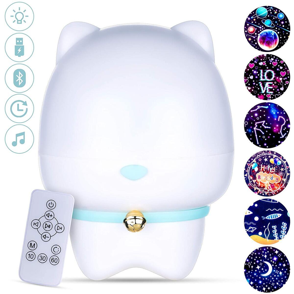 PETS BEATS Night Light Projector for Kids - 360 Rotating with 6 Interchangeable Projecting Films, Remote Control, USB - Kids Night Light with Bluetooth Speaker - Soothes Toddlers and Babies - Blue