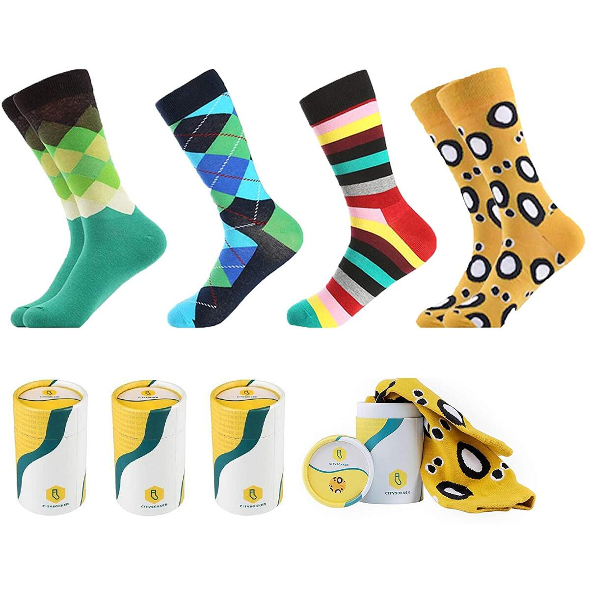 Premium Quality Mens Colorful Fun Socks | by CitySokken. With Hard Case Designed Boxes. Rebate valid only for color: Argyle-2
