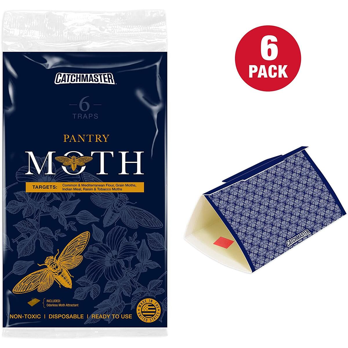 Catchmaster Premium Decorative Pantry Moth Trap - Safe, Non Toxic - Sticky Glue Trap with Premium Pheromone Lure Attractant - Pack of 6 Traps