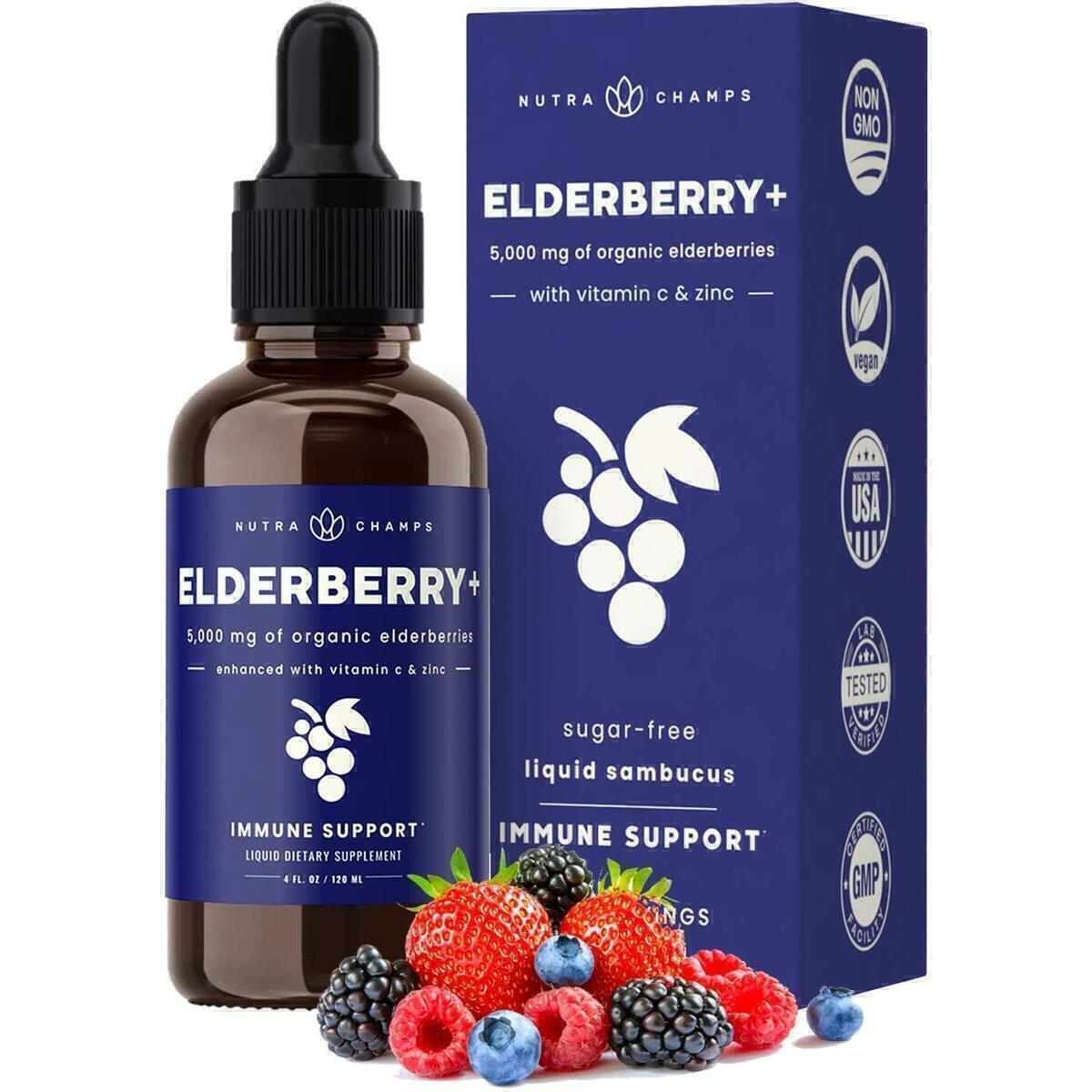 Organic Elderberry Syrup [5000mg Strength] Plus Zinc & Vitamin C Liquid Extract for Kids & Adults - Immune System Support - Vegan Sambucus Nigra Antioxidant Drops Supplement - Berry Flavor 2oz