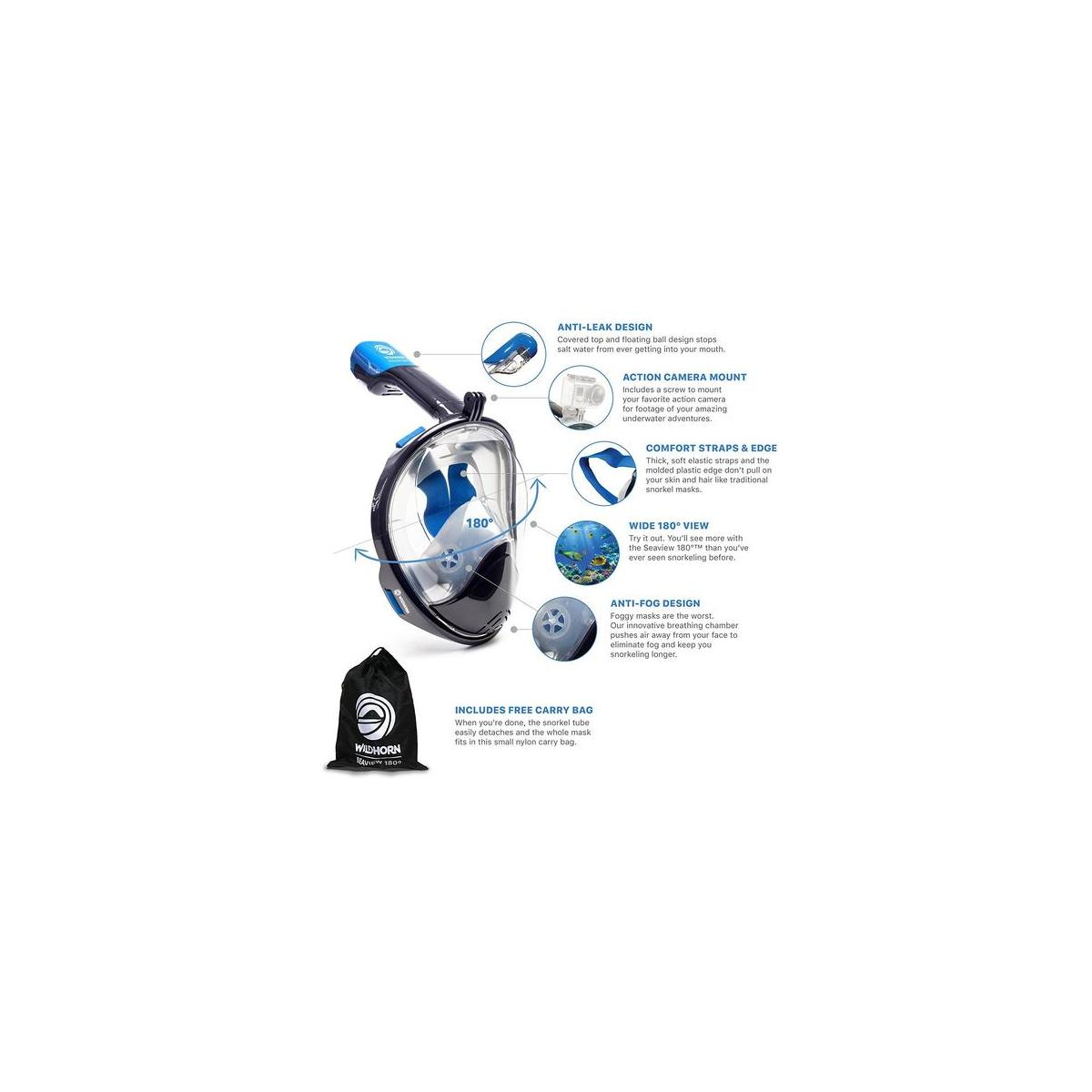 Wildhorn Outfitters Seaview 180 Full Face Snorkel Mask