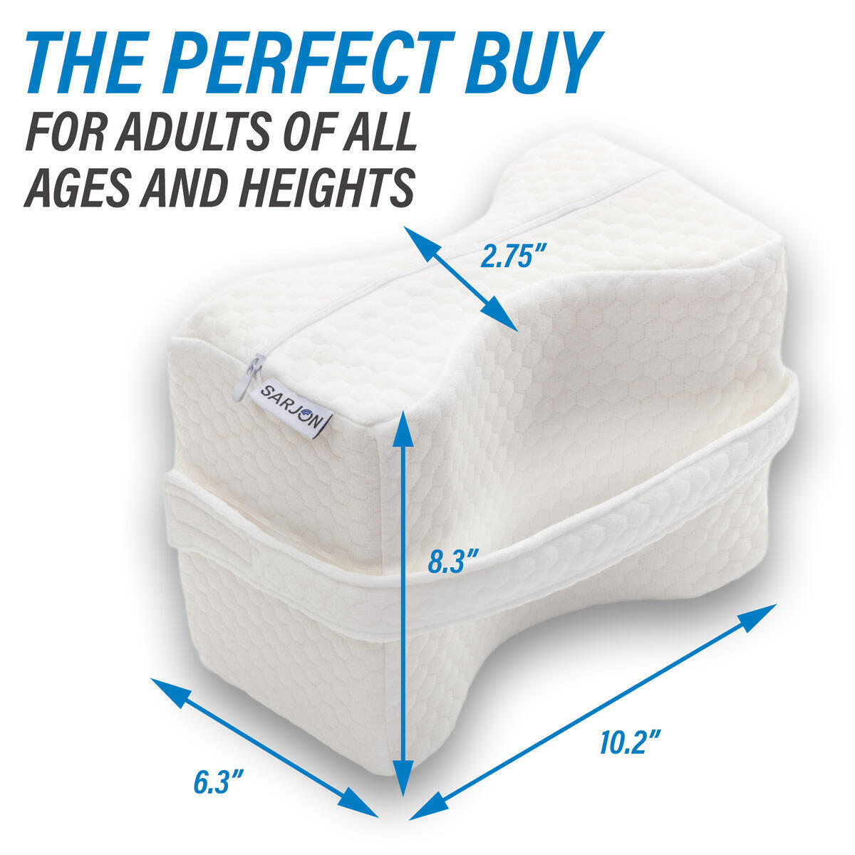 Memory Foam Knee Pillow - For Back, Leg, Hip, Joint, Pregnancy & Sciatica Pain Relief