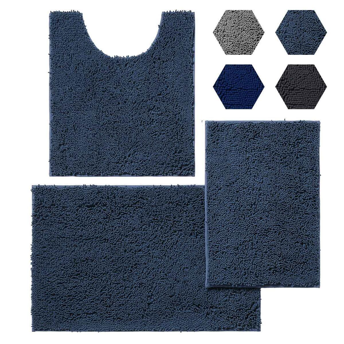 KINMEGO 3 Pieces Bathroom Rugs Set, Super Absorbent Luxury Shaggy Chenille Bath Mats Set, Durable Soft Bath Rugs Non Slip Washable for Tub, Shower, Bathroom (3 Pc Set - Style A, Fog Blue)