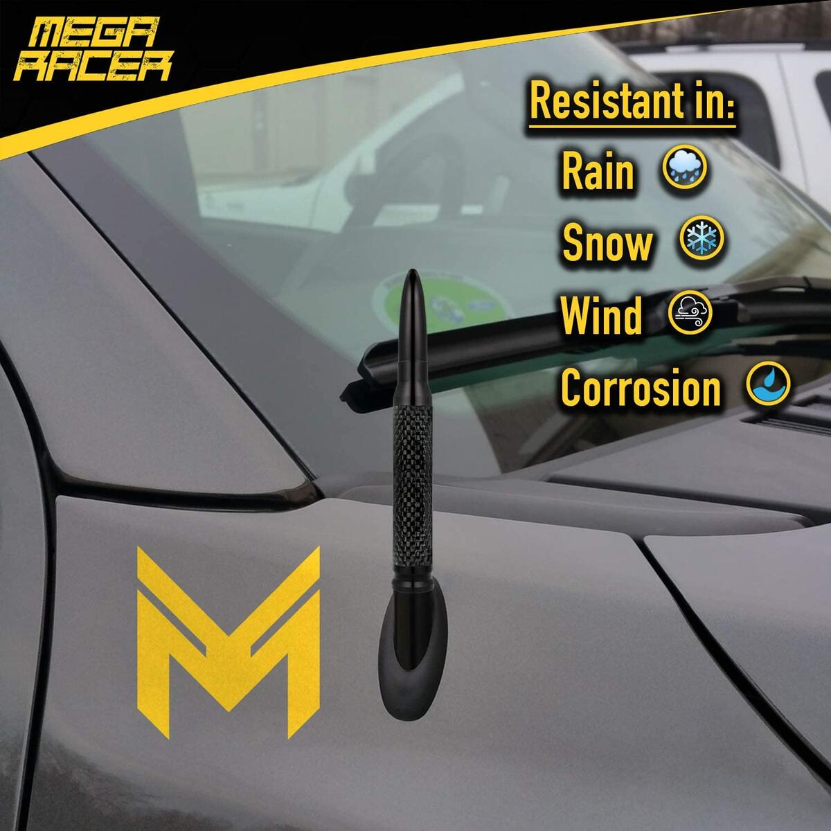 Mega Racer 50 Cal Bullet Antenna - Black Carbon Fiber 5.5 Inch AM/FM Compatible Universal Fit for SUV, Solid Aluminum with Anti-Theft Design and Car Wash Safe