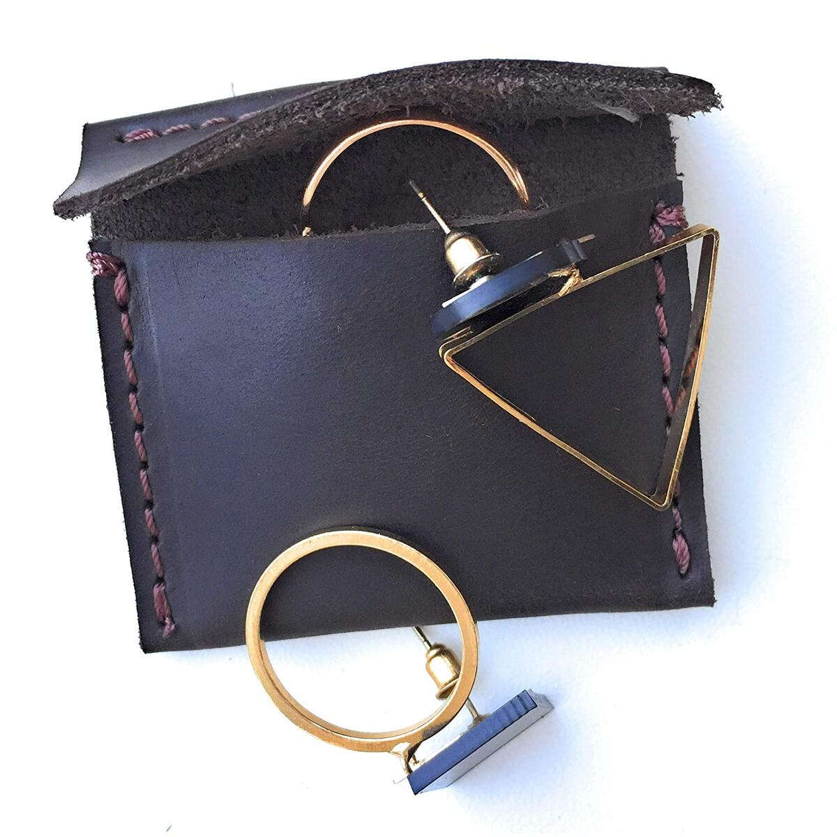 Leather Ring Pouch Handmade Miniature Jewelry Travel Case Tiny Earrings Holder