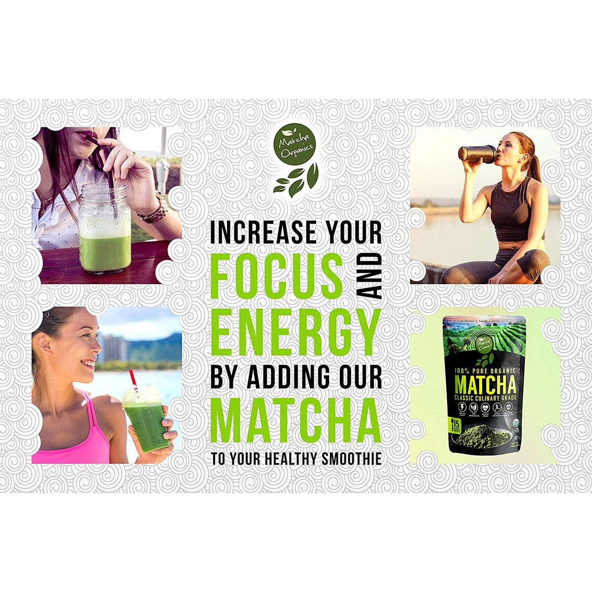 Classic Culinary Matcha Green Tea Powder - 100% Pure Vegan Matcha with 1500+ Antioxidants - USDA Organic Green Superfood Powder for Baking, Smoothies, & Matcha Tea Lattes by Matcha Organics, 1.05oz
