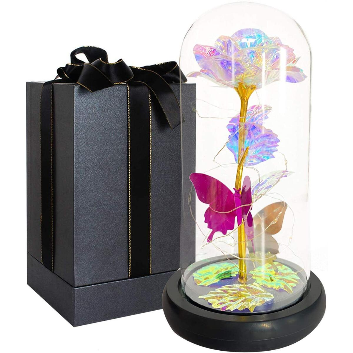 OUBANG Colorful Galaxy Rose Gifts for Her,Artificial Rose Crystal Rose with Led Decor,Lasts Forever in Glass Dome,Unique Gifts for Her,Christmas,Wedding,Valentine's Day,Anniversary and Birthday