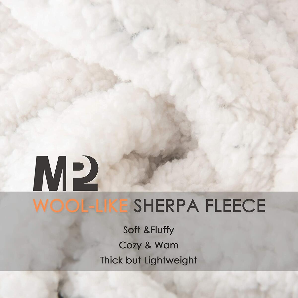 Fuzzy Fleece Plaid Sherpa Blanket Throw - Cozy Soft Plush Flannel Blanket for Sofa, Couch, Bed, Travel - 50x60 Inches, Black&Grey Plaid