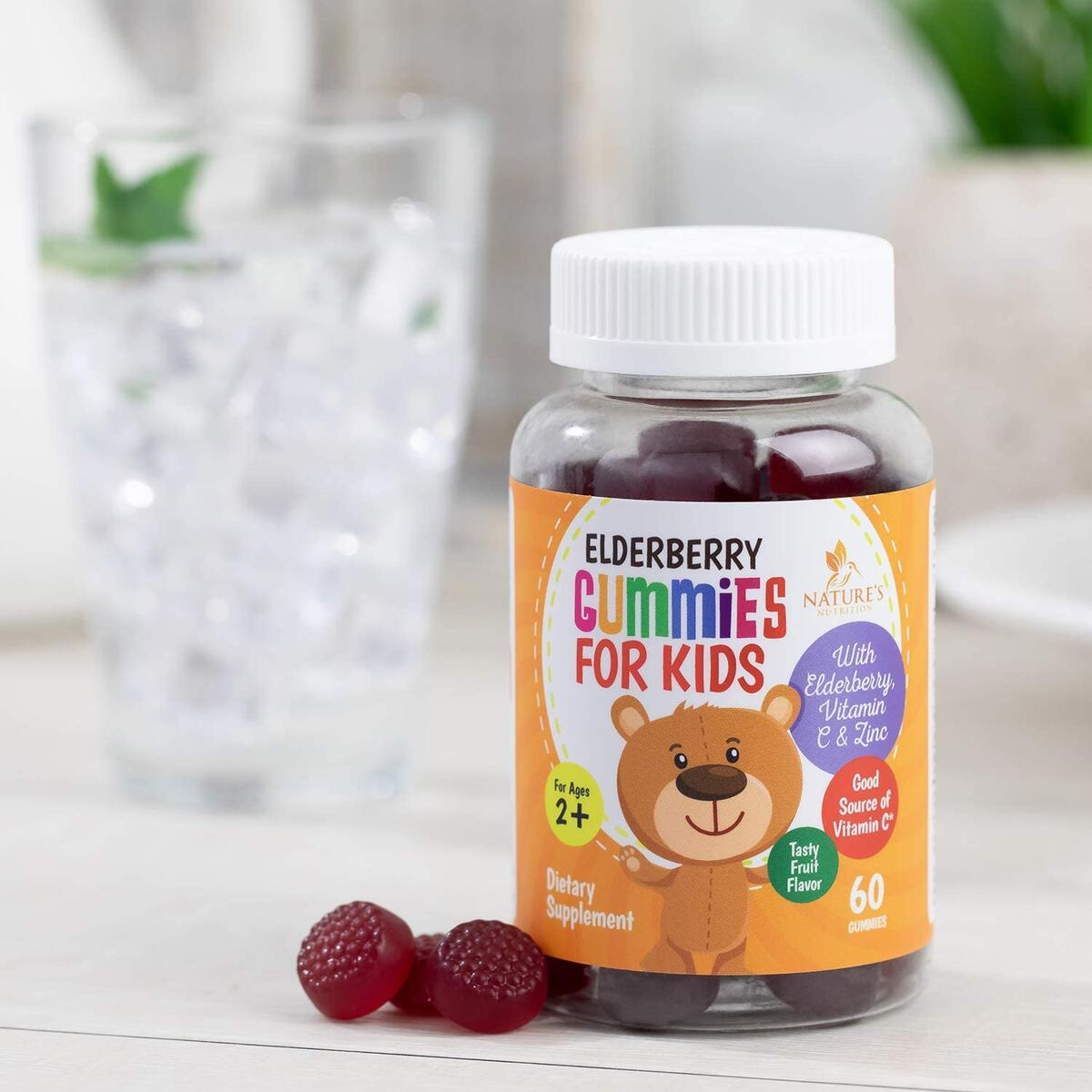 Elderberry Gummies for Kids Extra Strength Sambucus Nigra Gummy Vitamins - Tasty Natural Immune Support - Made in USA - Best Children's Herbal Supplements with Vitamin C and Zinc - 60 Gummies