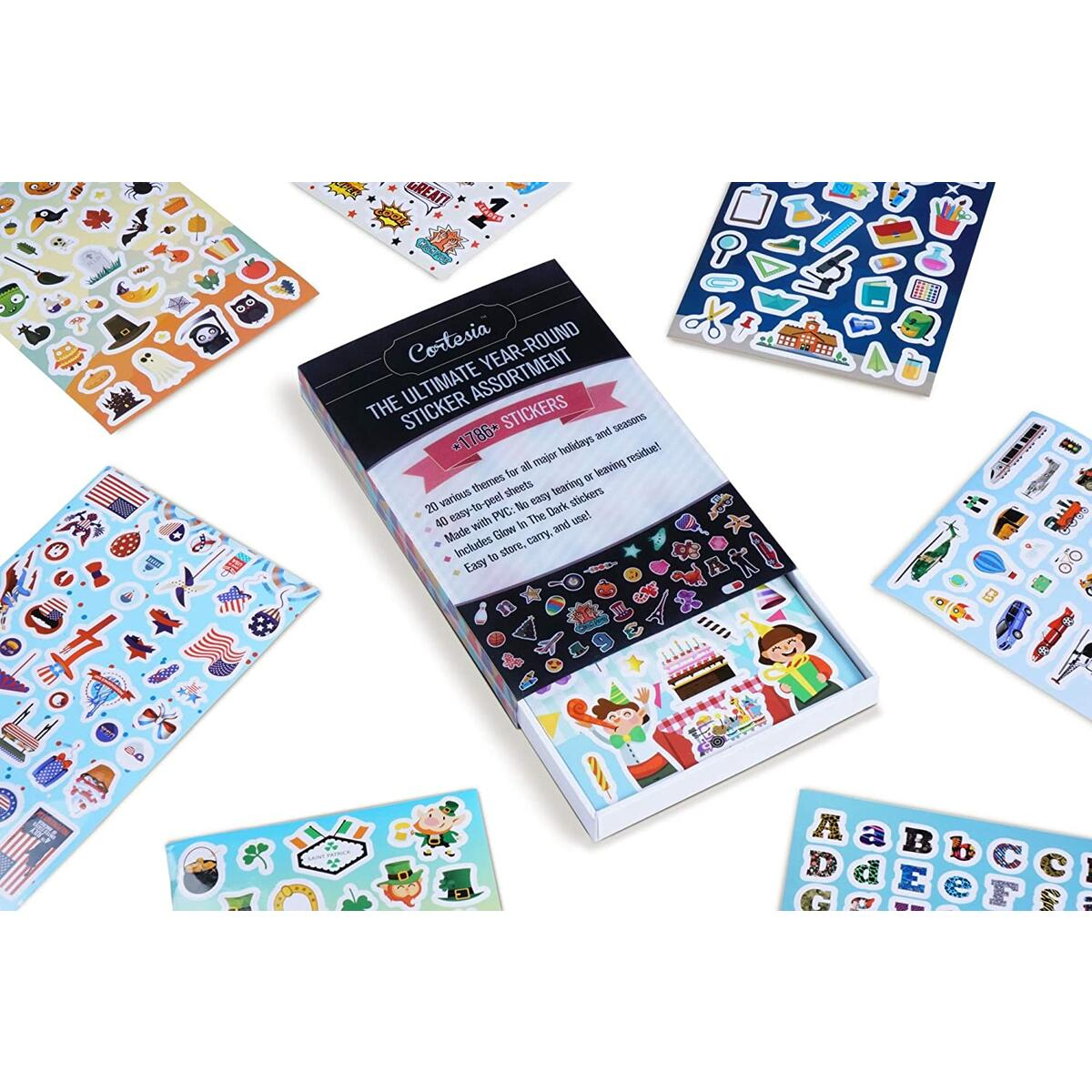 Year-Round Seasonal Sticker Bulk Pack for Kids - Assorted 1786 PCS - 20 THEMES - Perfect For Teachers, School, Students, Toddlers, Scrapbooking. Incl. All Major Holidays, Seasons, Special Fun Themes