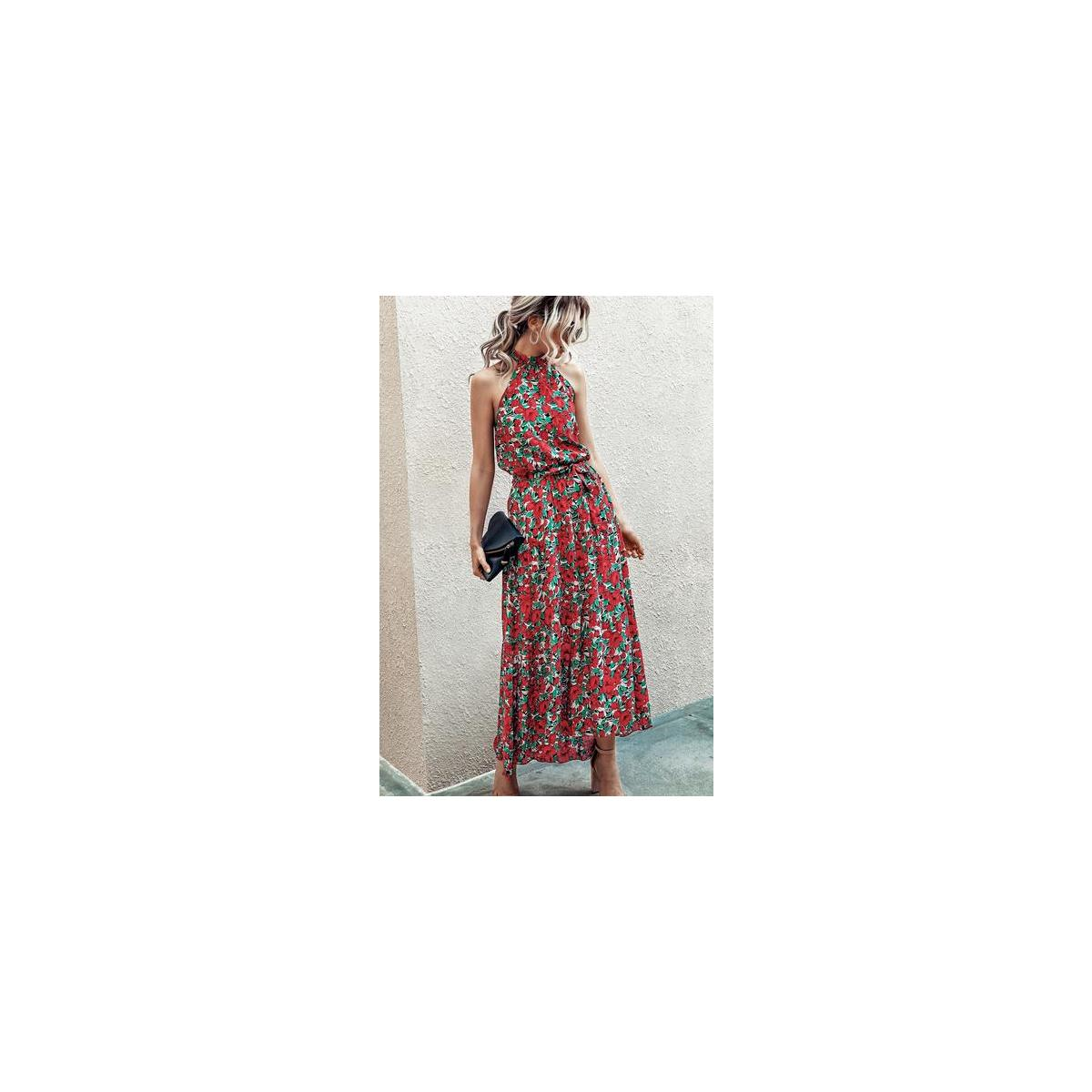 Women's Halter Neck Floral Print Polka Dot Solid Color Long Beach Maxi Dress Sundress with Belt Color: Red