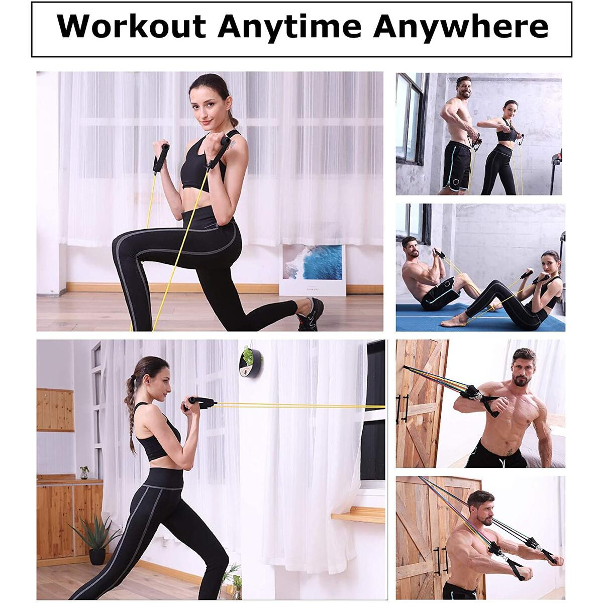Workout resistance bands set with handles set exercise bands resistance tube with door anchor resistance bands kit elastic bands for men women fitness home gym equipment for exercise (2020 new design)