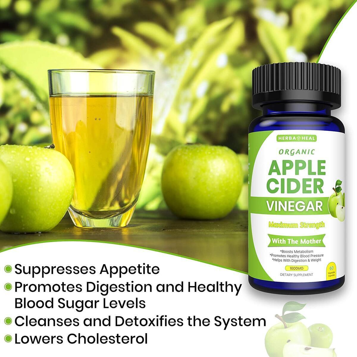 Organic Apple Cider Vinegar Capsules 1600MG with Lemon Powder, Inulin & Cayenne Pepper, All Organic Supplement - 1 Month Detox & Cleanse ACV Pills - Bloating Relief Metabolism Booster