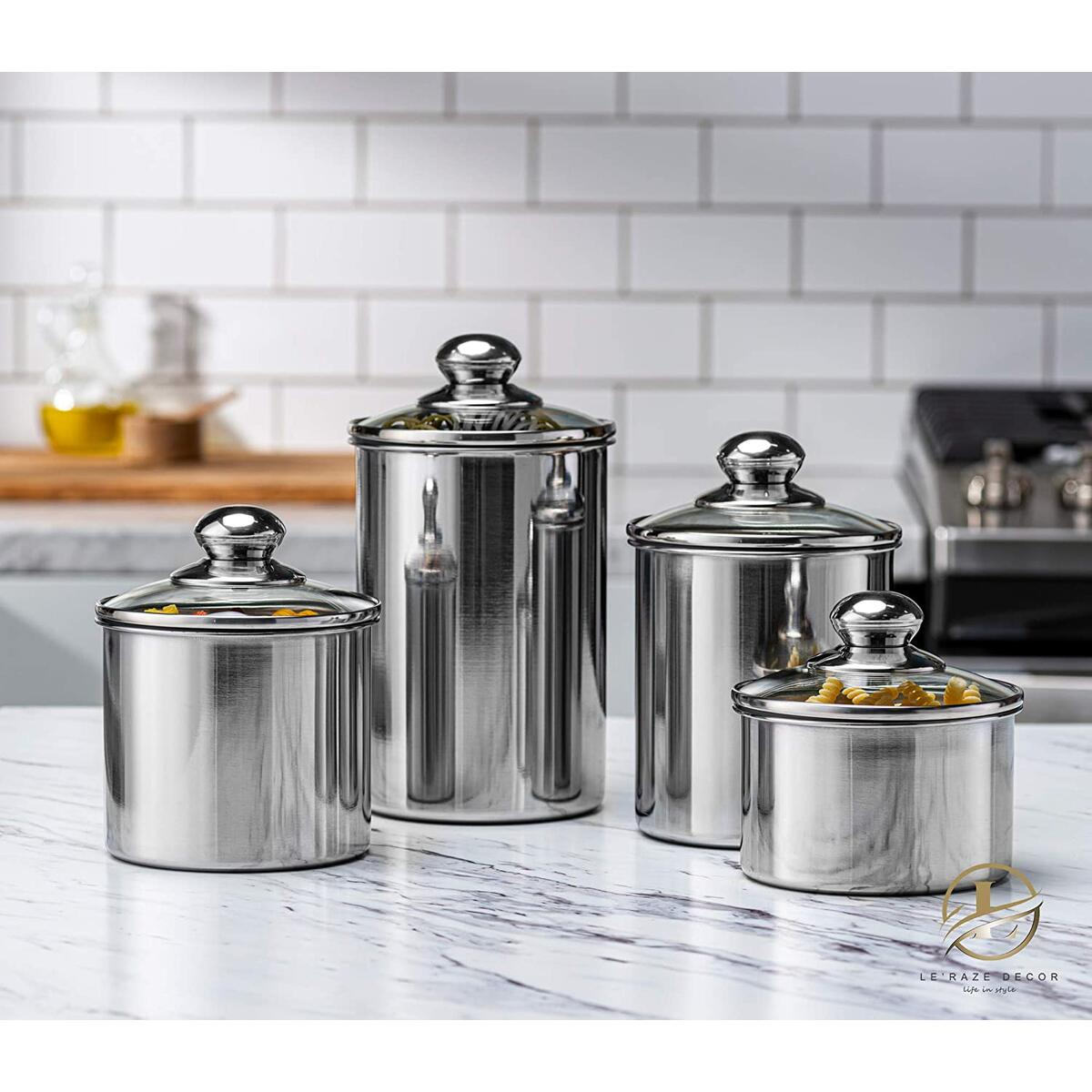 Le'raze Food Storage Container for Kitchen Counter with Marker & Labels, [Set of 4] Stainless Steel Pot-Like Canister Set, Ideal for Flour Tea, Sugar, Coffee, Candy, Cookie Jar