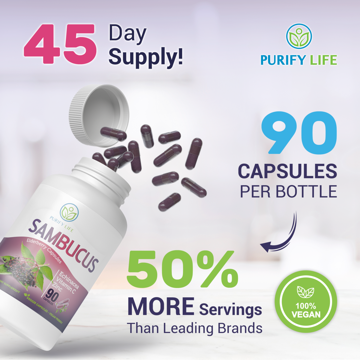 Elderberry Capsules [Double Strength 1500mg] with added Vitamin C , Zinc, and Echinacea - Immune System Support Supplement - 90 Veggie Capsules/45 Day Supply