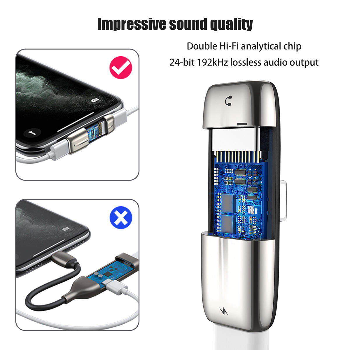 Phone Headphone Charger Splitter,Double Lighting Adapter,Lossless Audio/Fast Charging/Calling Sync Converter Connector,Music Headset Support,iPhone 7 8 7plus 8plus X Xs Max Xr 11 pro iPad Mini(Silver)