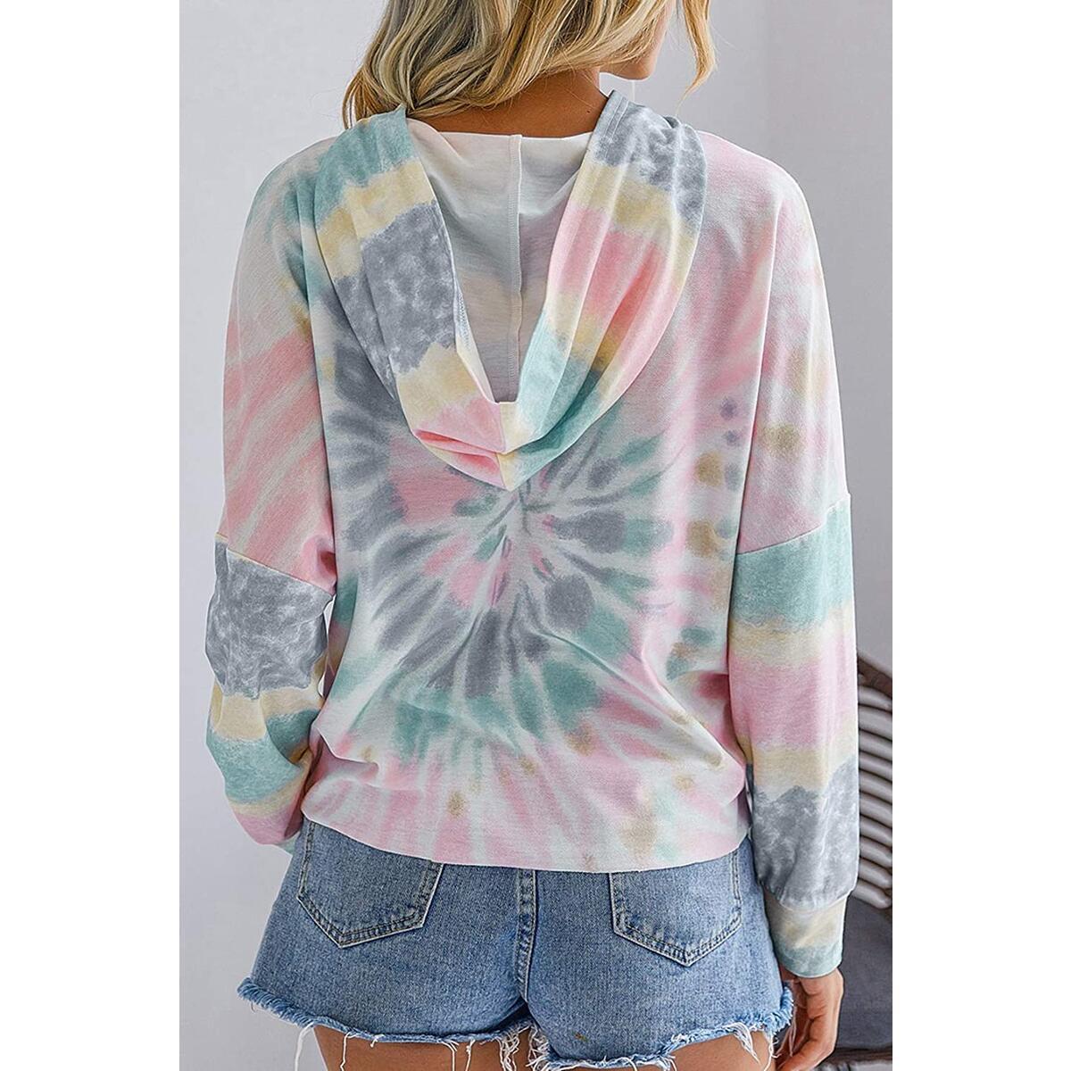 Minipeach Women's Tie Dye Sweatshirt,Long Sleeve Pajamas Lounge Pullover Soft Loose Fit Hoodie Colorblock Shirts Tops