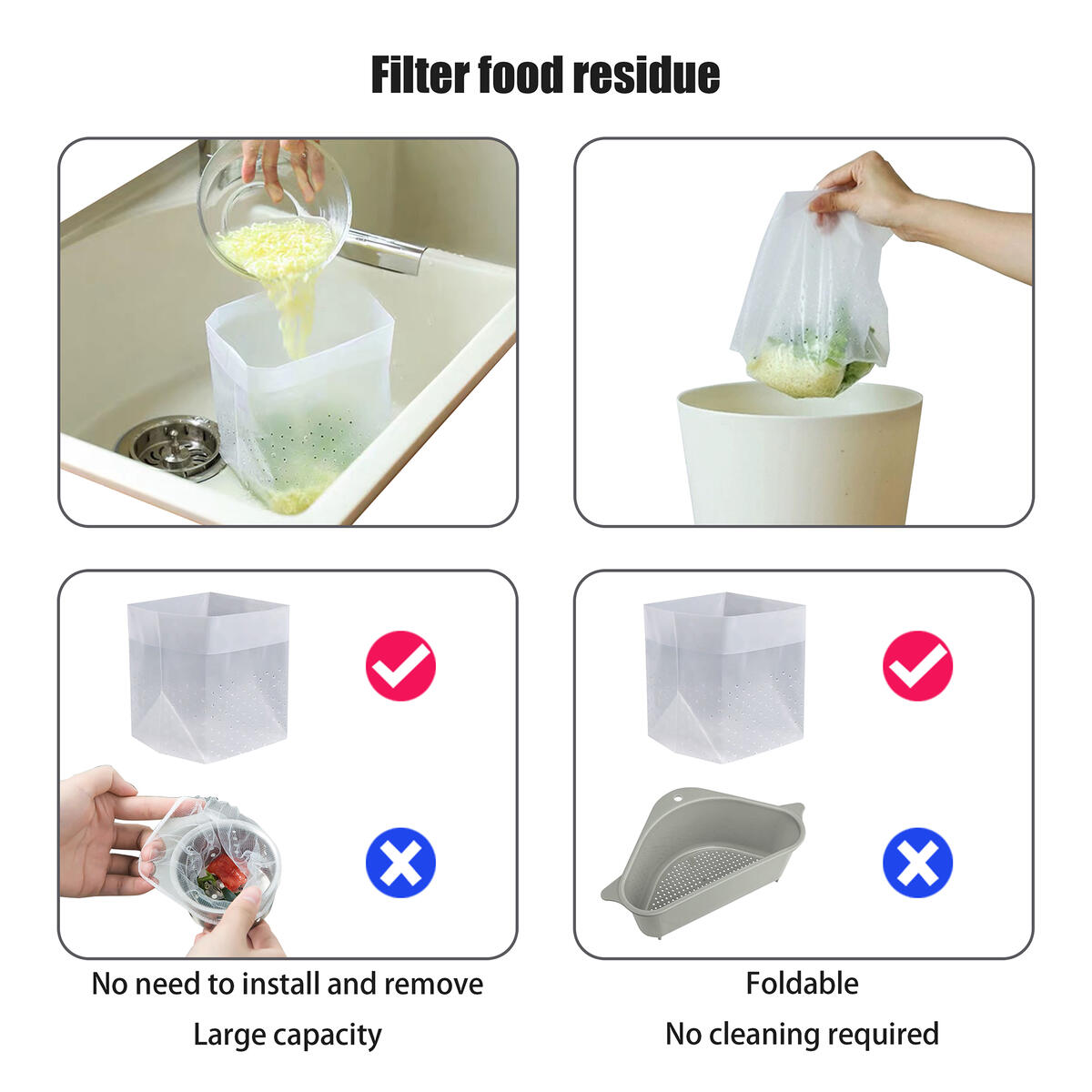 Family Simple Sink Strainer Bags,Disposable Kitchen Drain Drainer Bag,Foldable Stopper Filter,Reusable Plastic Rubbish Garbage Waste Residue Compost Bags,Vegetable Fruit Outdoor Washing Pouch (90Pcs)
