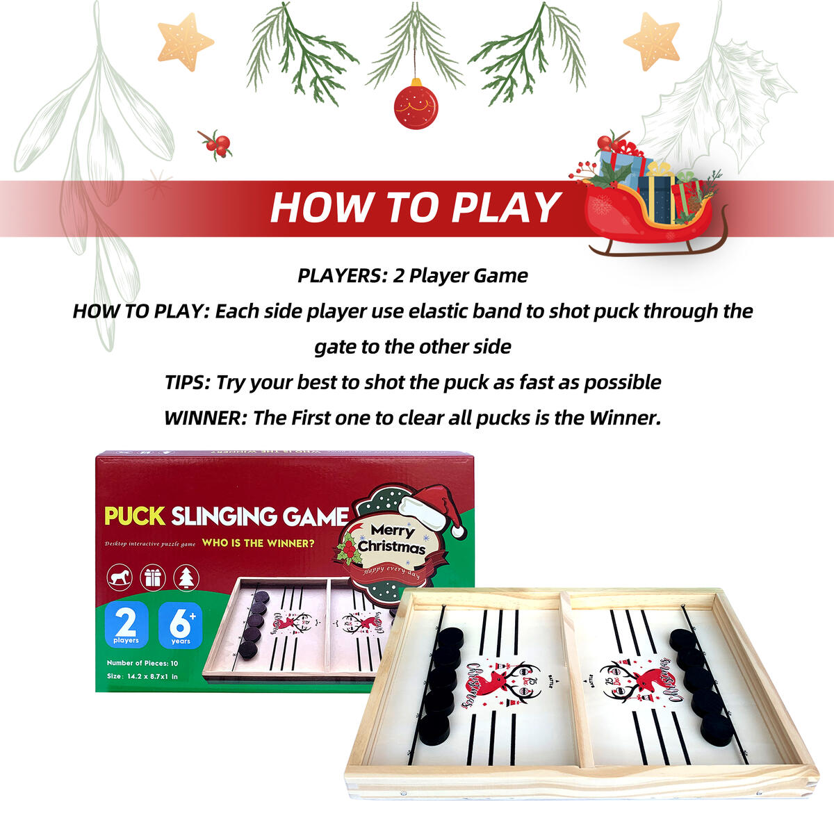 Daniel's Fast Sling Puck Game-Foosball Winner Board Game for Holiday Surprise -Speed Puck Game for Family Fun Night-Large Size Sling Hockey Table Game for Any Ages (22