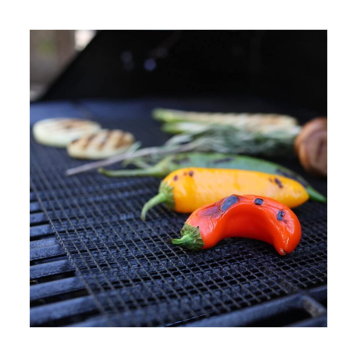 BBQ Grill Mesh Mat Set of 3 - Non Stick Barbecue Grill Sheet Liners