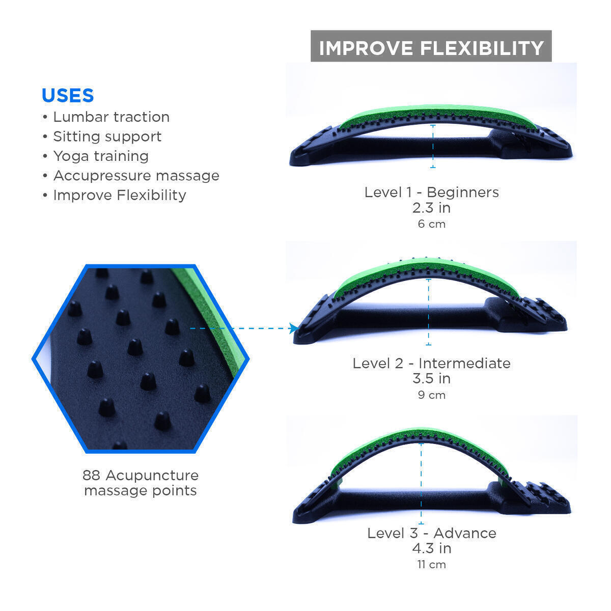 UB All - Back Stretcher for Pain Relief and Free Elastic Posture Corrector - Three-Level Lower Spine Deck Massager - Cushioned Arch Lumbar Support for Car Chair