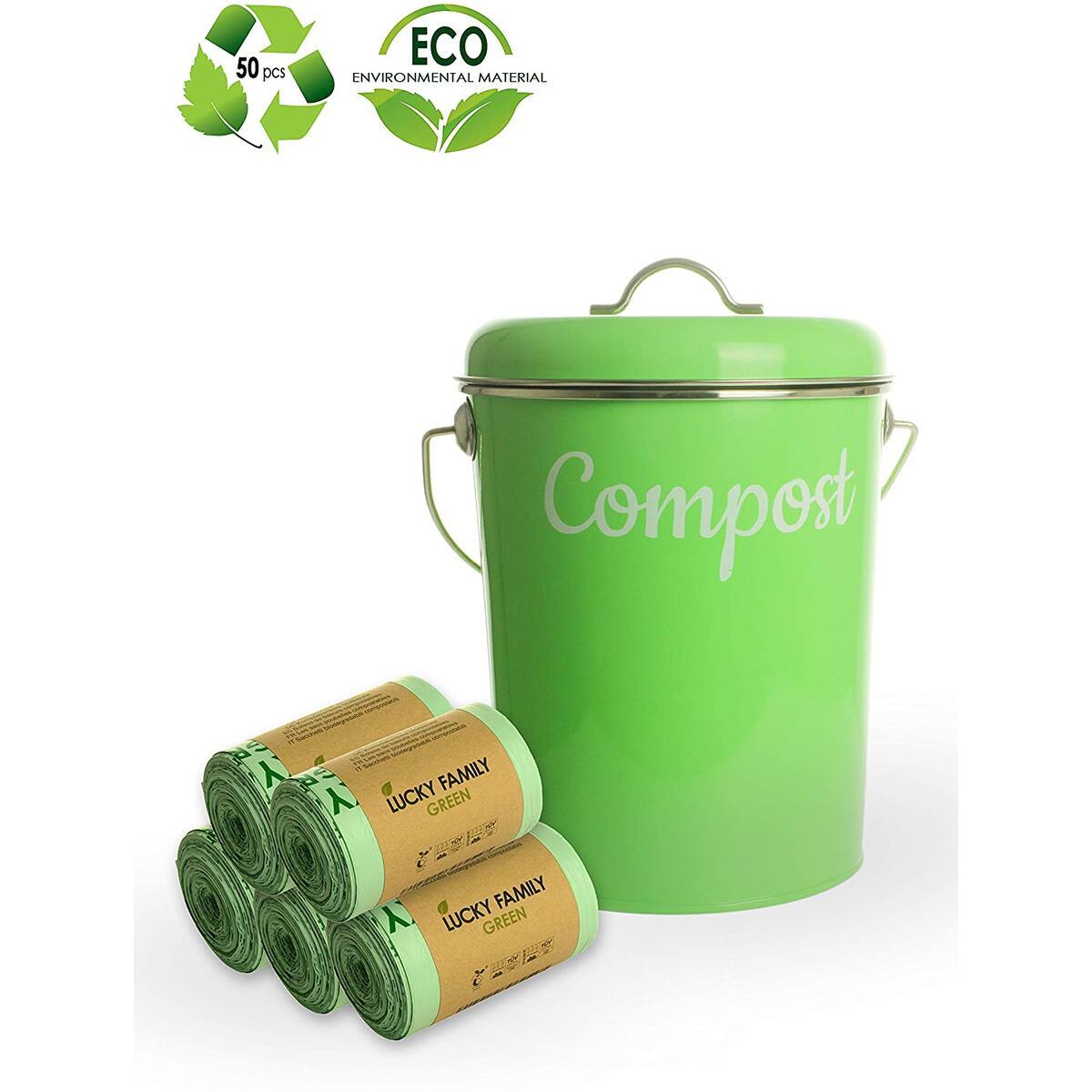 Lucky Family Green Compost Bags 1.3 - 1.6 gallons