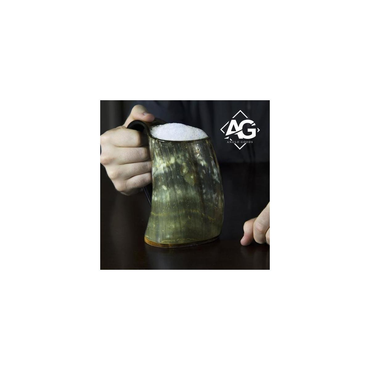 AngloGoods Handcrafted Ale Horn (20oz) Viking Drinking Horn Mug.Drink Mead & Beer Like A Real Viking. (Multi-color) (Multi color)