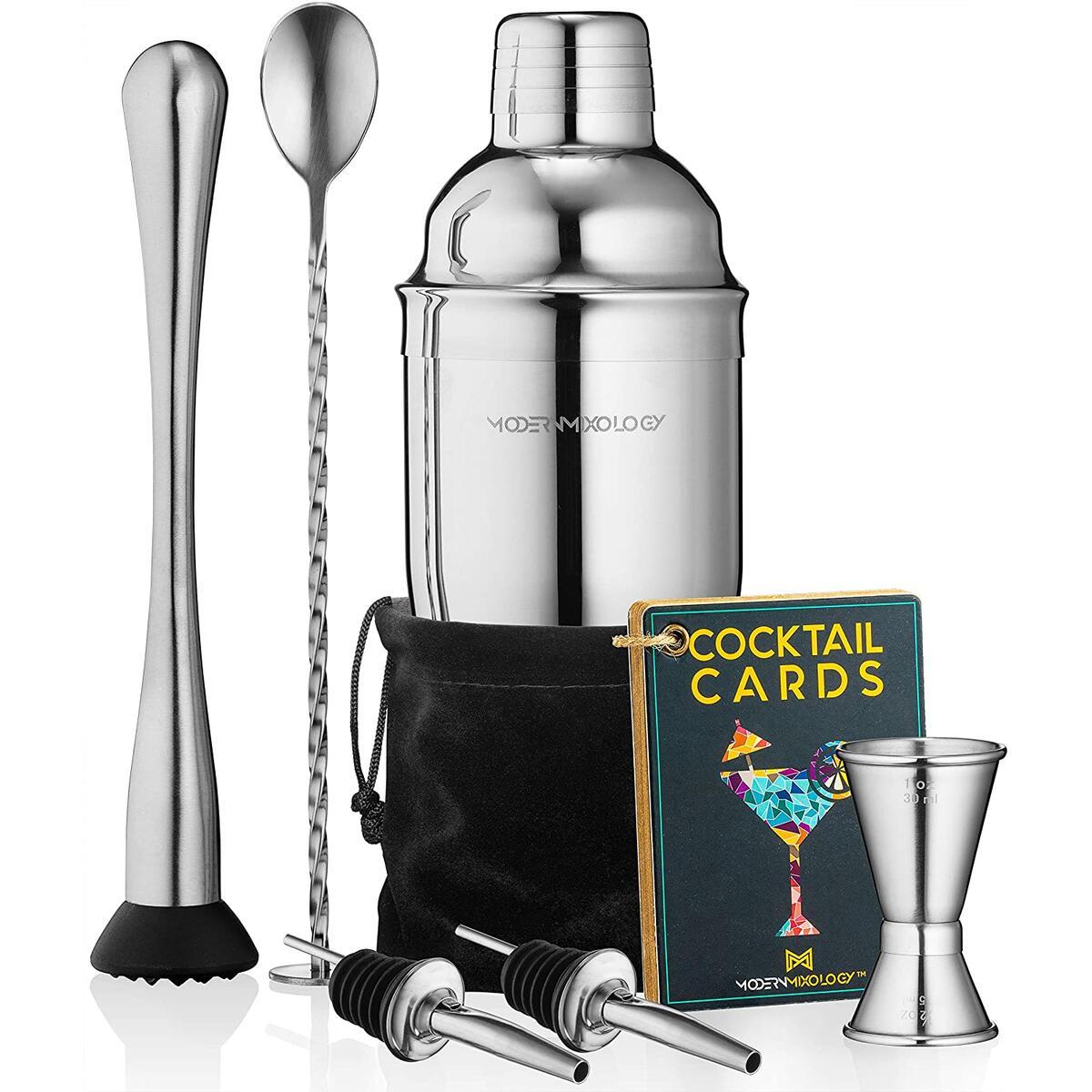 Cocktail Shaker Set Drink Mixer // 8-piece Portable Bartender Kit with 24oz Martini Shaker Bar Tool Set // 2 Pourers // Muddler // Jigger // Mixing Spoon // Velvet Bag // Built-in Strainer (Silver)